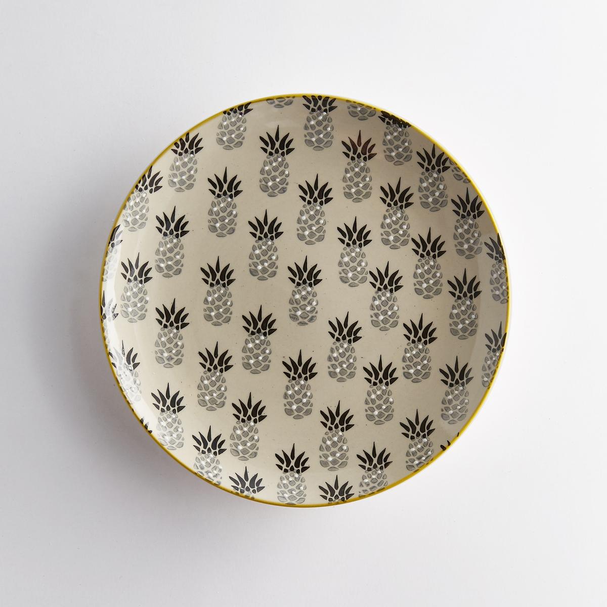 Комплект из 4 десертных тарелок из керамики, TossitaКлассический дизайн, экзотический рисунок : 4 десертные тарелки Tossita придадут вашей посуде и вашей кухне освежающие тропические нотки. Характеристики 4 десертных тарелок из керамики с рисунком ананас Tossita :Из керамики.Комплект из 4 десертных тарелок: 2 тарелки с рисунком ананас черного и серого цветов + 2 тарелки с рисунком зеленого и желтого цветов.Характеристики 4 десертных тарелок из керамики с рисунком ананас Tossita :диаметр 20,5 см.Другие комплекты и наши коллекции предметов декора стола вы можете найти на сайте laredoute.ru<br><br>Цвет: набивной рисунок