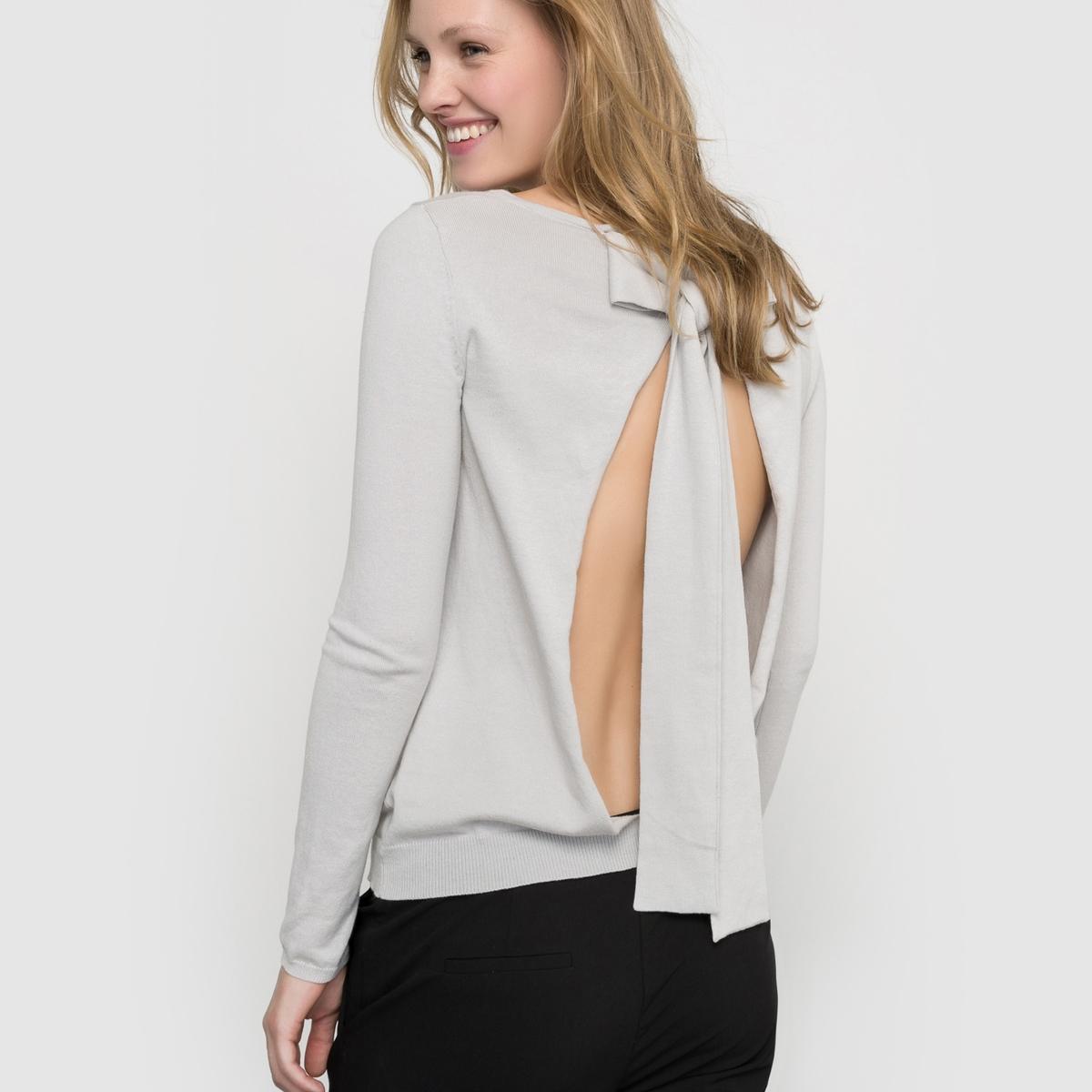 Пуловер с бантом, ажурная спинка