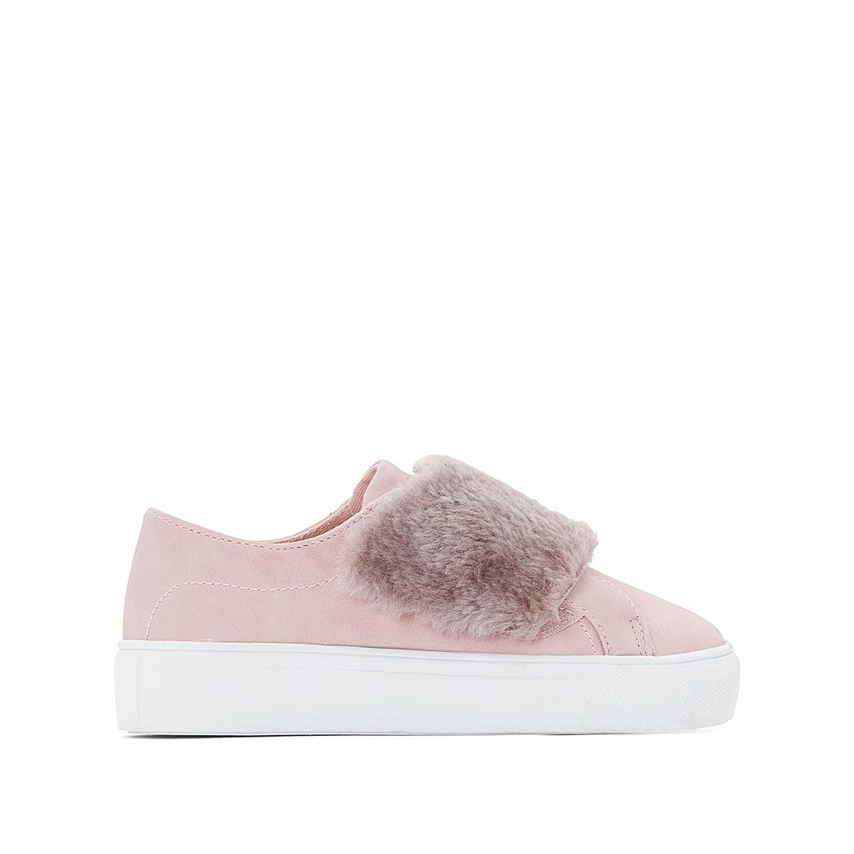 цена Кеды La Redoute На планке-велкро из меха размеры - 39 розовый онлайн в 2017 году