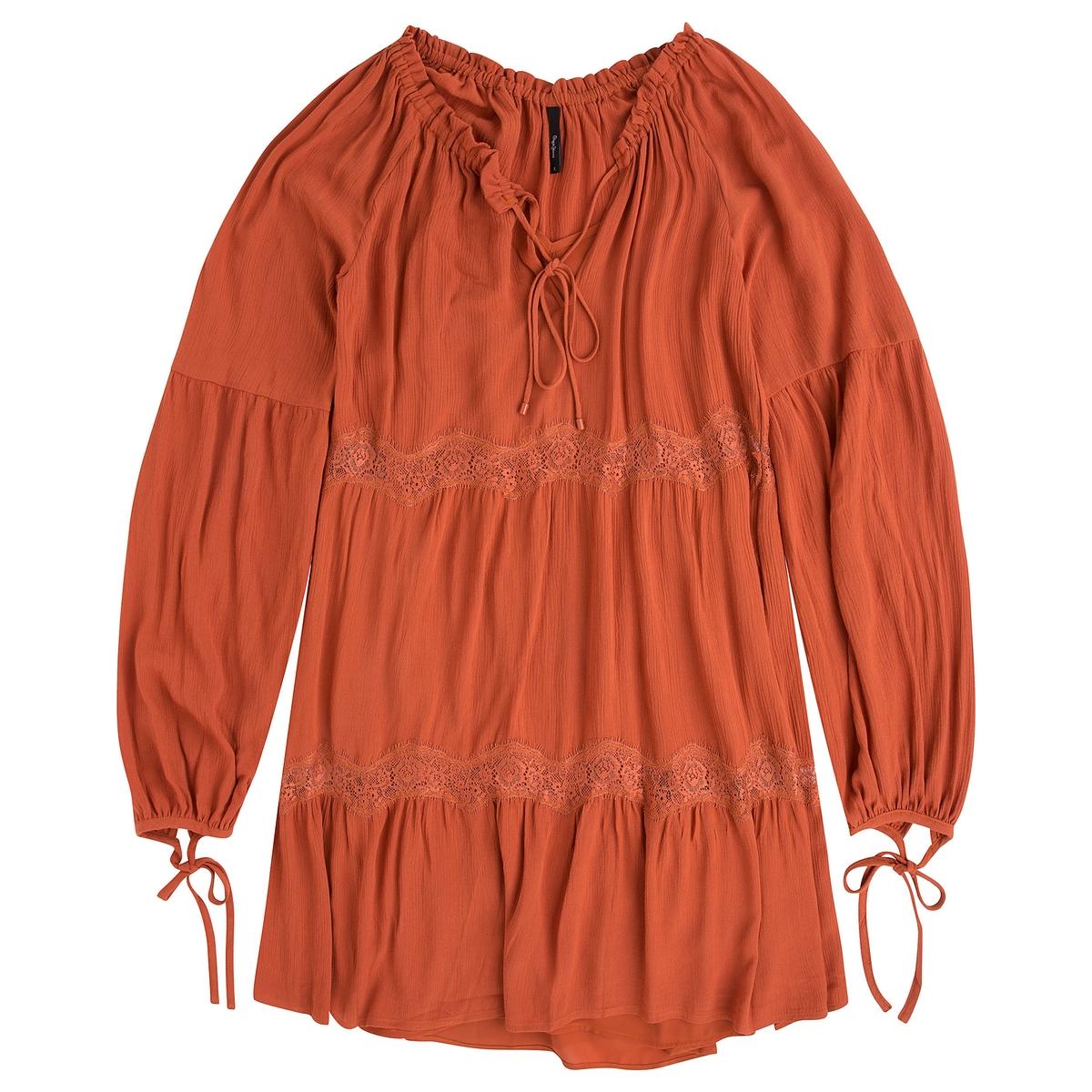 Платье короткое с длинными рукавамиДетали •  Форма : прямая  •  короткое  •  Длинные рукава     •  Круглый вырезСостав и уход •  100% вискоза  •  Следуйте советам по уходу, указанным на этикетке<br><br>Цвет: красно-коричневый,черный<br>Размер: XL.M.S.S