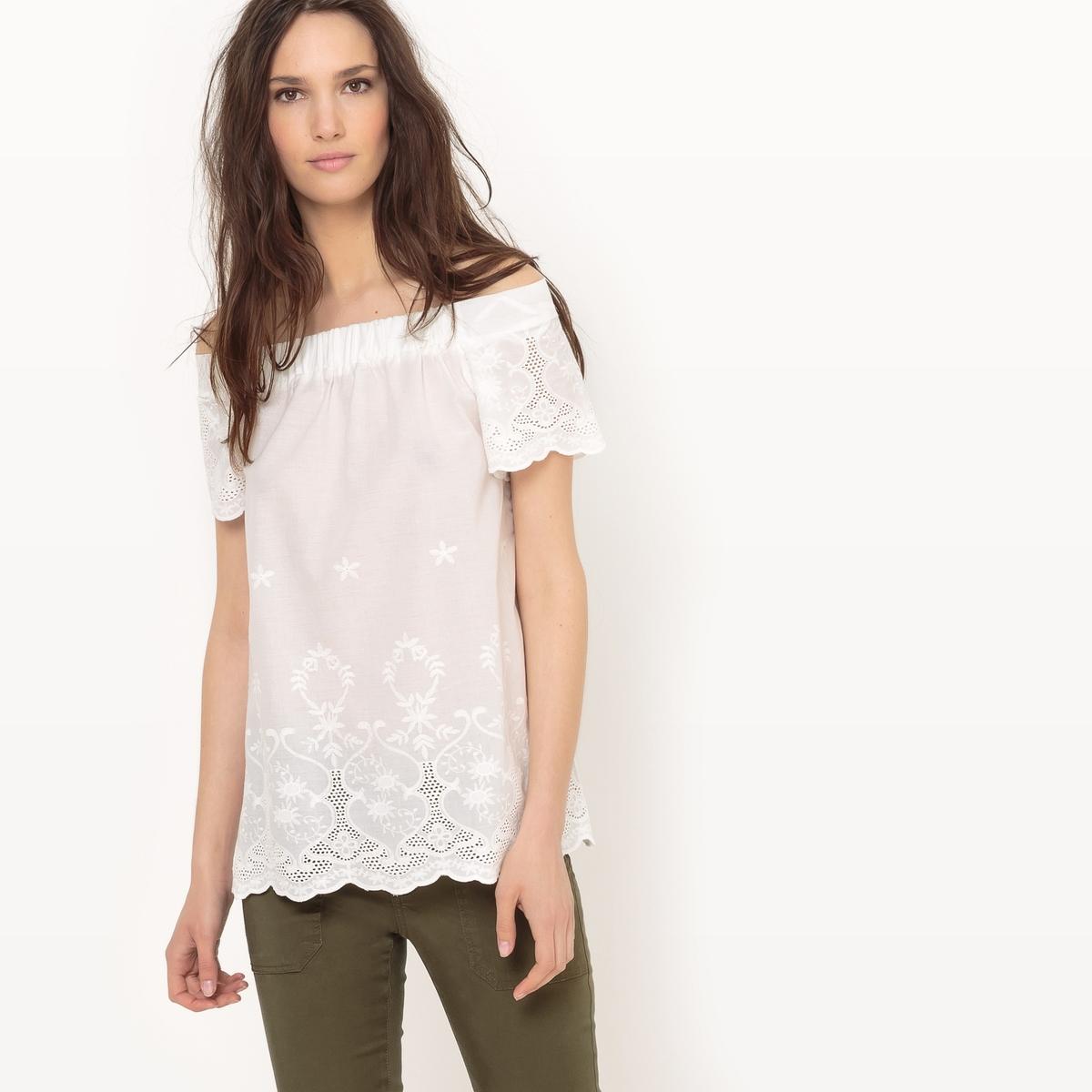 Блузка однотонная с короткими рукавами блузка однотонная с короткими рукавами