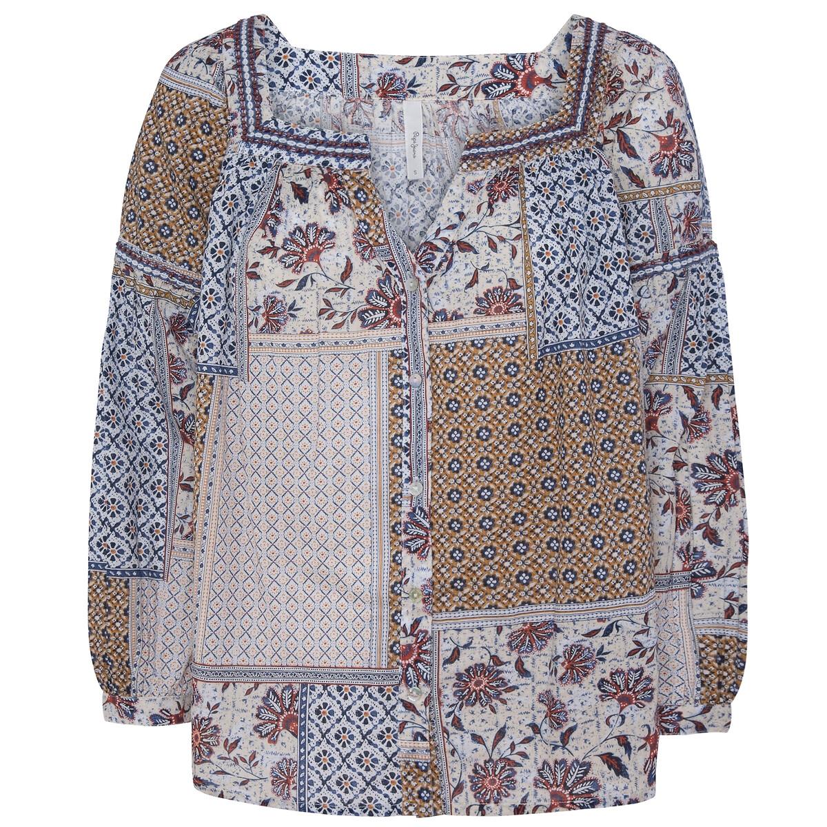Blusa con estampado patchwork y cuello túnica