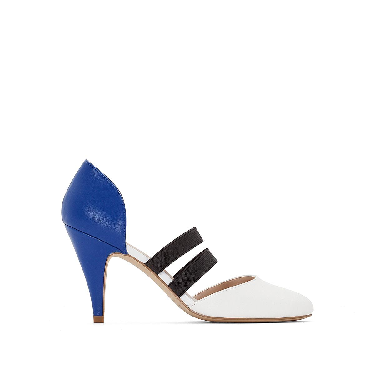 Туфли на высоком каблуке с эластичными вставкамиВерх : синтетика   Подкладка : синтетика   Стелька : синтетика   Подошва : эластомер   Высота каблука : 9 см   Форма каблука : шпилька   Мысок : закругленный   Застежка : эластичные вставки<br><br>Цвет: синий/ белый<br>Размер: 38