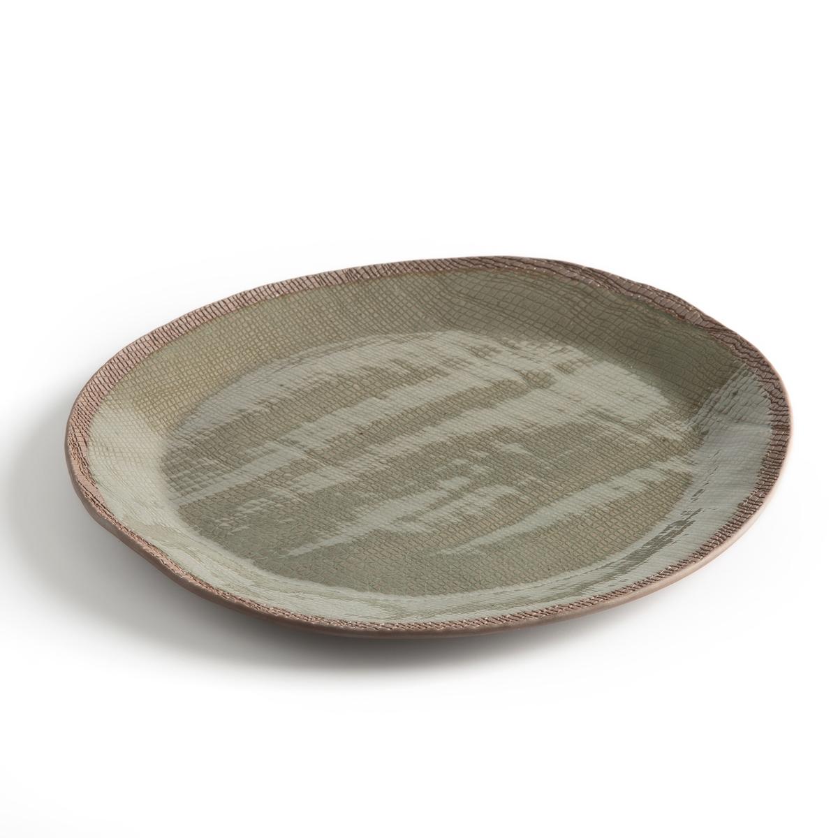 Фото - Тарелка LaRedoute Плоская из керамики Sanna единый размер каштановый тумба laredoute для телевизора с раздвижными дверцами quilda единый размер каштановый