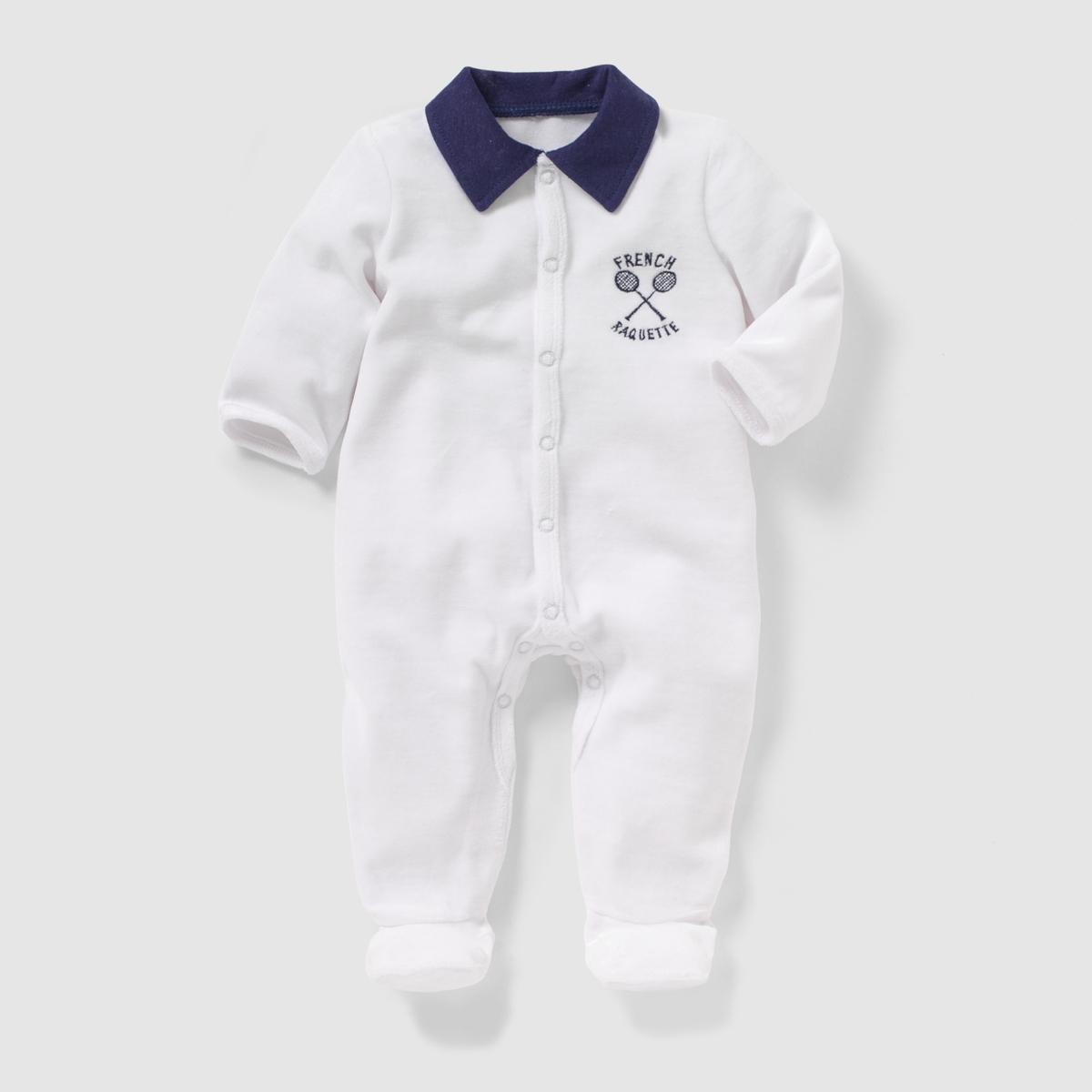 Пижама велюровая с воротником поло, 0 месяцев - 3 года