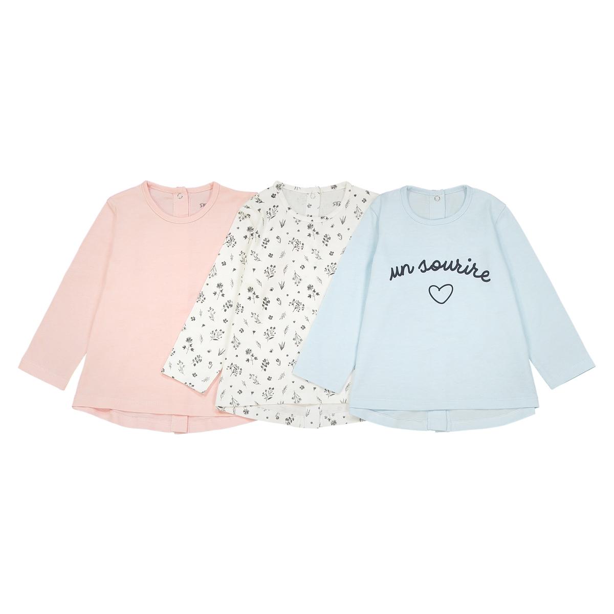 Комплект из 3 футболок с длинными рукавами, 0 мес. - 3 года комплект из 4 футболок 1 мес 3 года oeko tex