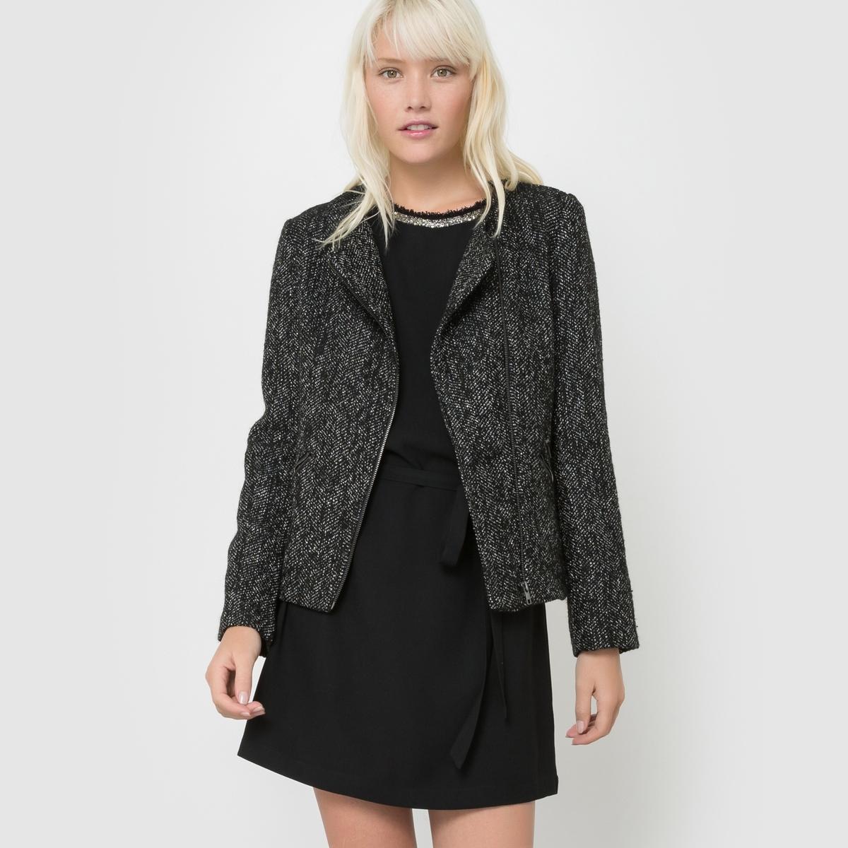 Пальто короткое меланж DAVEСостав и описаниеМарка : SUNCOOМатериал :  60% полиэстера, 40% шерстиУходРучная стирка<br><br>Цвет: черный меланж<br>Размер: XS.M.S