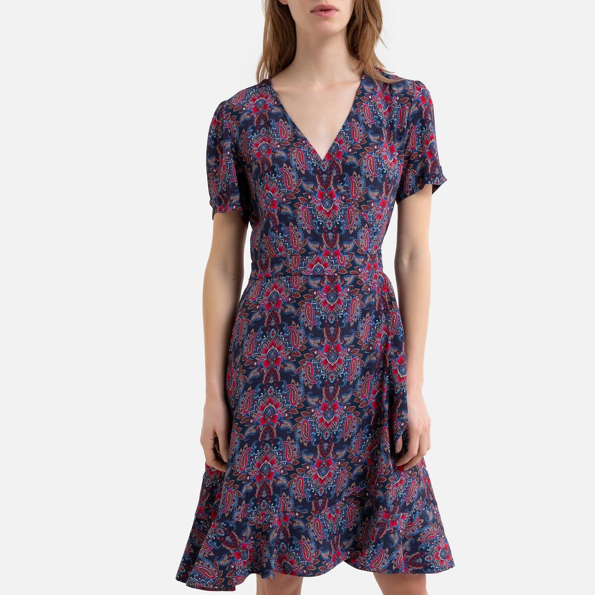 Платье La Redoute С запахом с кашемировым принтом OMBRINE 42 (FR) - 48 (RUS) красный