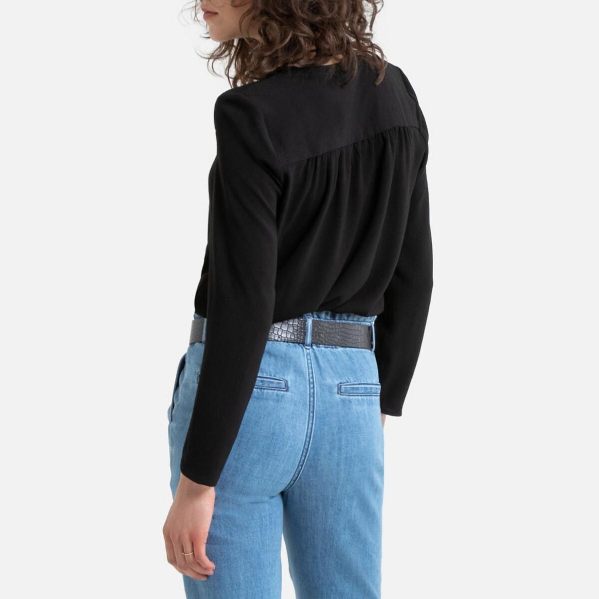 blouse manches 3/4 col V, dentelles