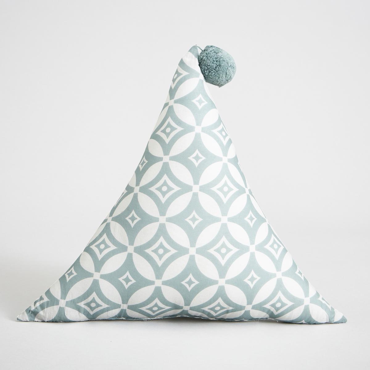 Подушка треугольная, OlayaПодушка Olaya. Треугольная форма, оригинальный помпон, мягкость хлопковой вуали и 3 графичных рисунка украсят кровать вашего ребенка.Характеристики: - Покрытие из 100% хлопковой вуали с рисунком- Наполнитель 100% полиэстер- Машинная стирка при 40 °C.Размеры  :- Ш.40 x В.40 x Г.40 см<br><br>Цвет: зеленый,розовый<br>Размер: единый размер.единый размер