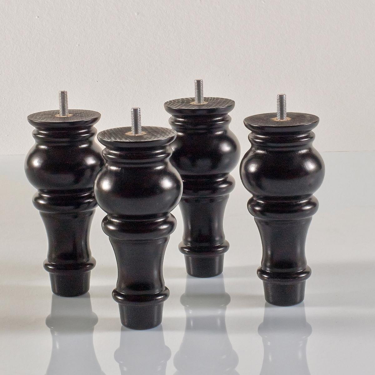 4 ножки для кровати WigmoreКомплект из 4 ножек для кровати, адаптируются к каркасам с отверстиями для резьбового крепления M8.   - Выполнены из массива бука с тонировкой венге и отделкой нитроцеллюлозным лаком. ? 7, В.15 см.<br><br>Цвет: белый,черный лак<br>Размер: 15cm