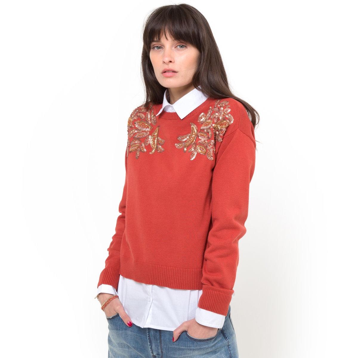 Пуловер с пайеткамиПуловер из 100% хлопка. Пайетки и бусины украшают плечи. Длинные рукава. Круглый вырез. Длина 52 см.<br><br>Цвет: оранжевый<br>Размер: 34/36 (FR) - 40/42 (RUS)
