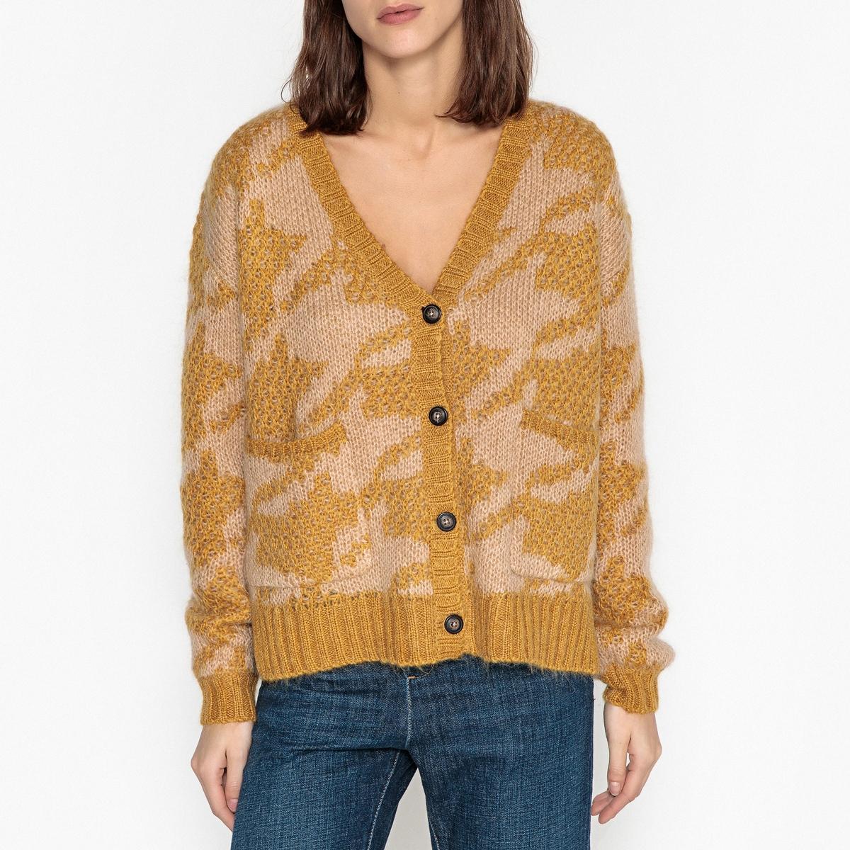 Кардиган с V-образным вырезом из жаккардового трикотажа LINDA пуловер без рукавов с v образным вырезом из трикотажа в рубчик