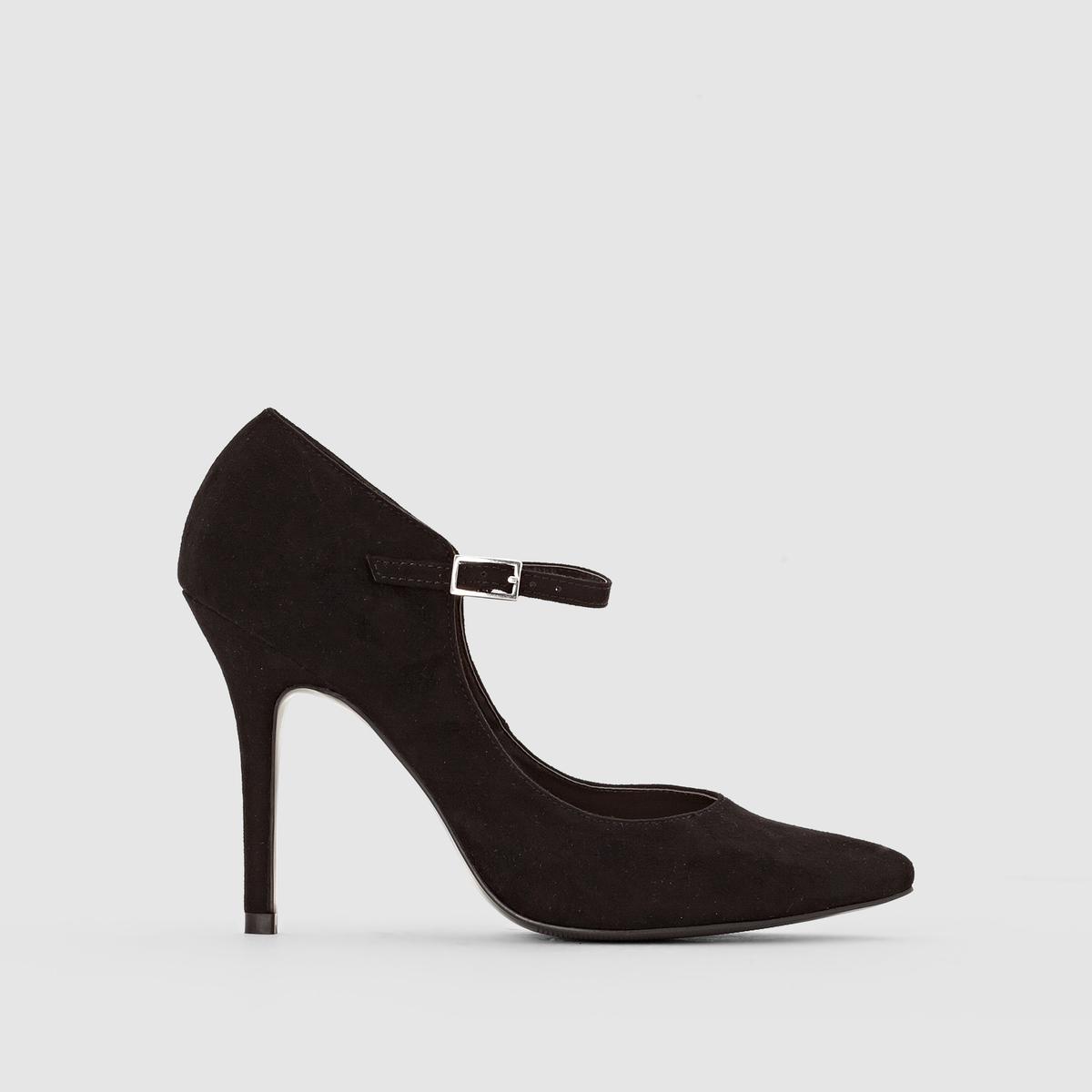 Туфли из искусственной замши с пряжкойМарка :  R ?ditionВерх : искусственная замшаПодкладка : синтетикаСтелька : синтетикаПодошва : из эластомераВысота каблука : 11,5 см Форма каблука : тонкийНосок : заостренныйПреимущества : женственная форма, отличная высота каблука для сногсшибательного силуэта<br><br>Цвет: черный