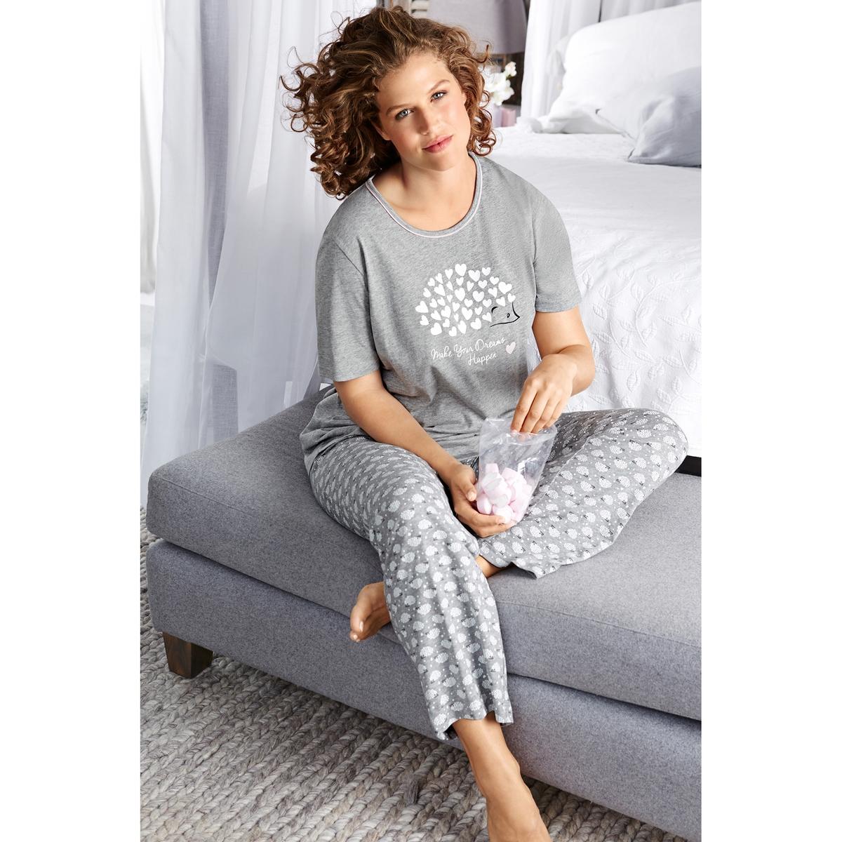ПижамаПижама - ULLA POPKEN. Верх с короткими рукавами украшен рисунком ёж. Длинные прямые брюки с рисунком ежи и полностью эластичным поясом. 100% хлопок. Длина в зависимости от размера. 72 - 82 см, длина по внутр. шву ок. 76 см<br><br>Цвет: серый