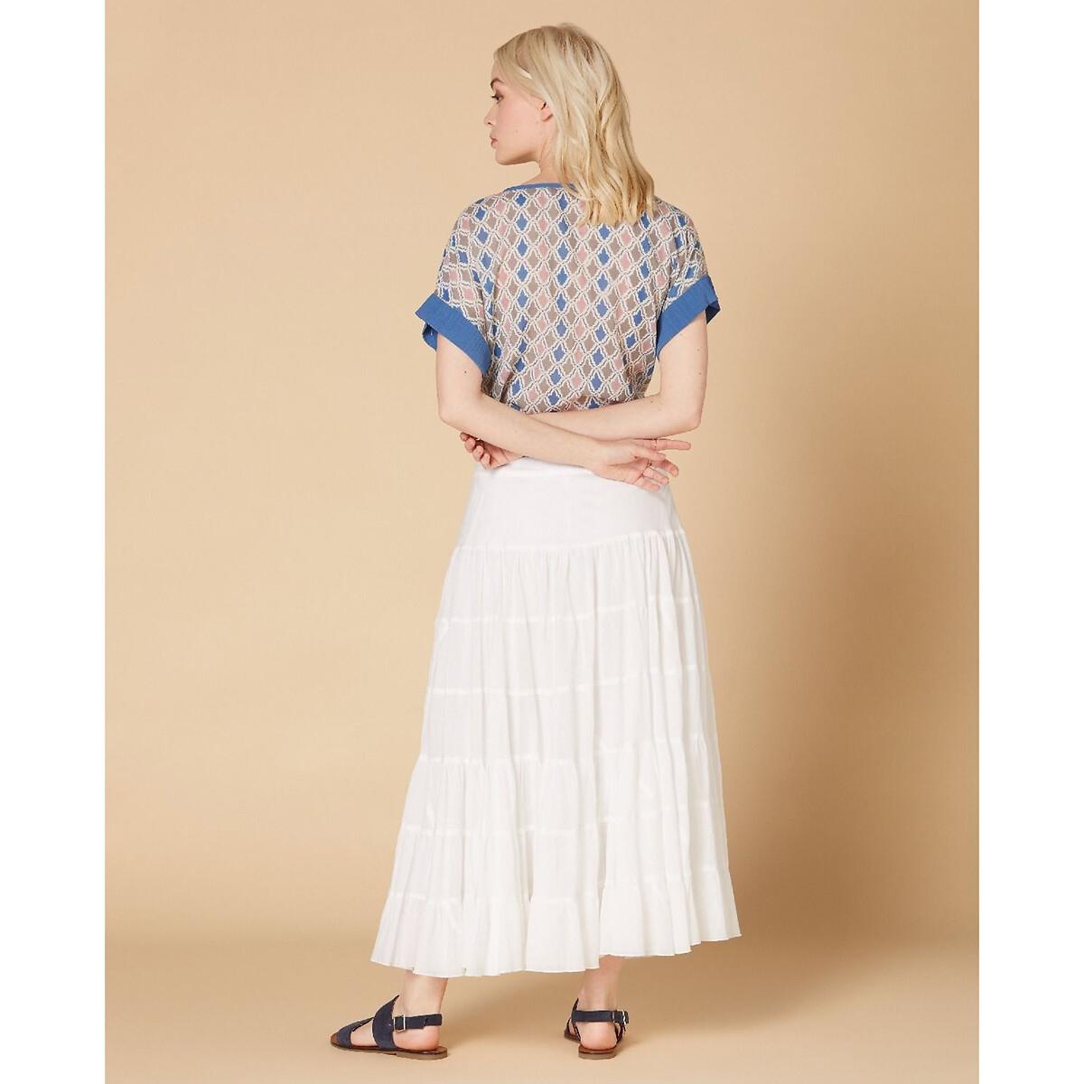 Юбка La Redoute Длинная струящаяся и расклешенная с оборками S белый юбка la redoute короткая расклешенная с цветочным рисунком и оборками на поясе xs бежевый