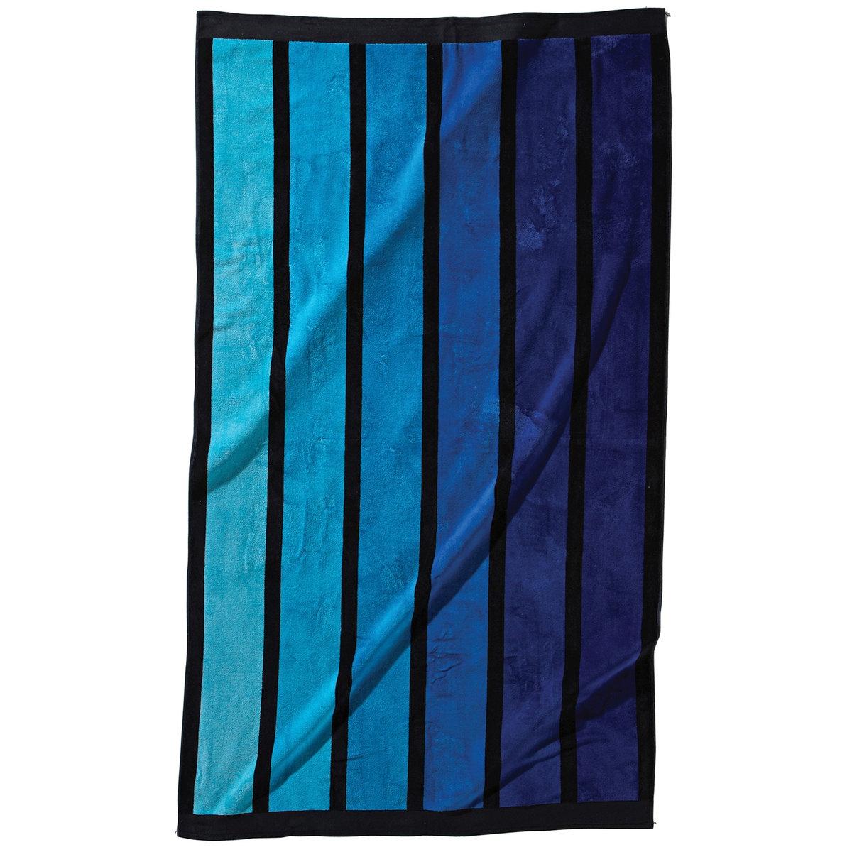Полотенце пляжное в вертикальную полоскуПляжное полотенце из махровой ткани и велюра в полоску, 100% хлопка. 1 сторона из велюра, 1 сторона из махровой ткани. 470 г/м?. Размер: 100 x 175 см. Стирка при 40°.<br><br>Цвет: розовый,синий