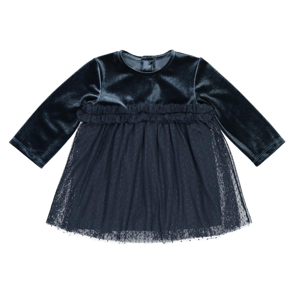 Платье La Redoute Для торжества из велюра и вышитой гладью ткани мес - года 3 мес. - 60 см синий пижамы la redoute из велюра мес года 0 мес 50 см синий
