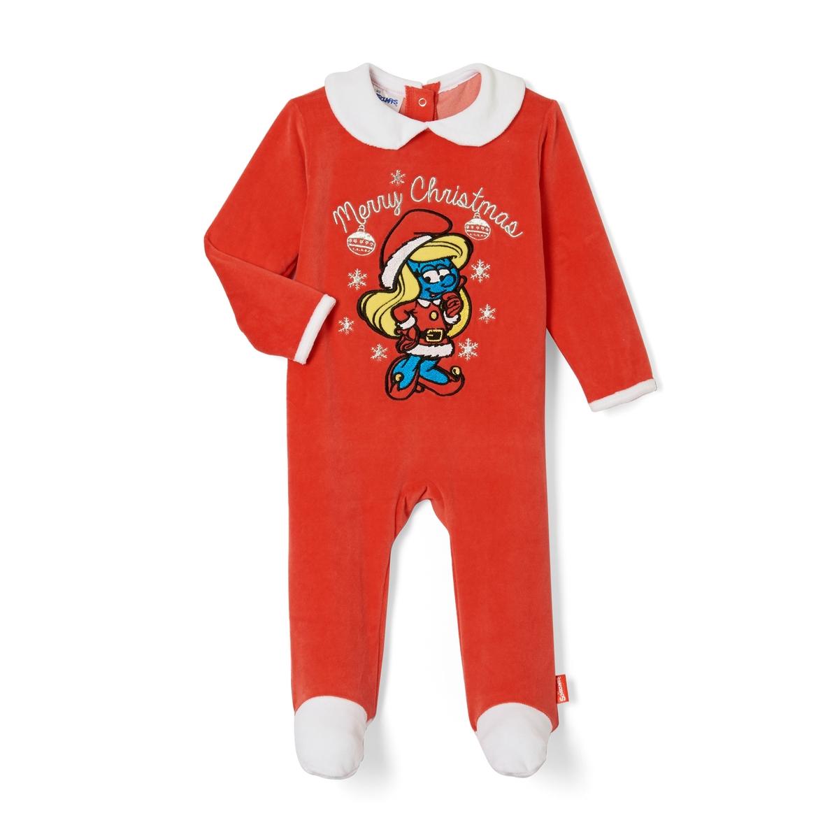 Pijama em veludo com pés, 3 meses - 2 anos