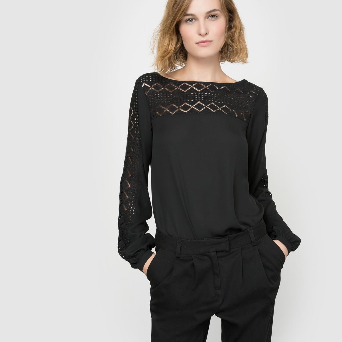 Блузка однотонная с круглым вырезом, короткими рукавами