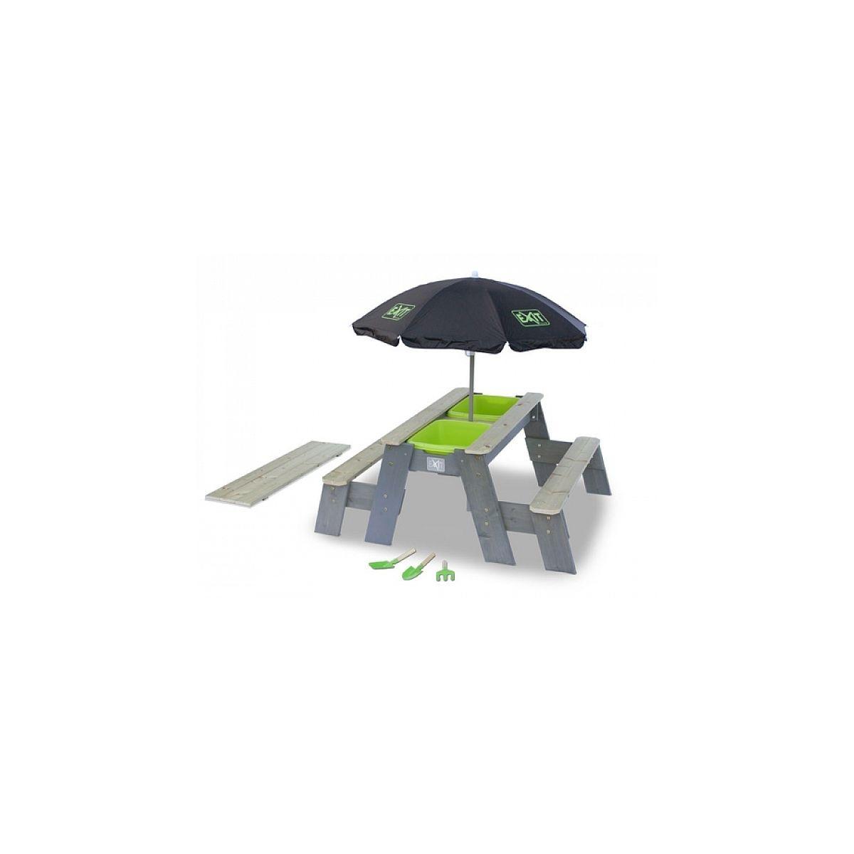 EXIT Aksent Table ? sable eau et pique-nique+ 2 Bancs + Parasol + Outils Jardin