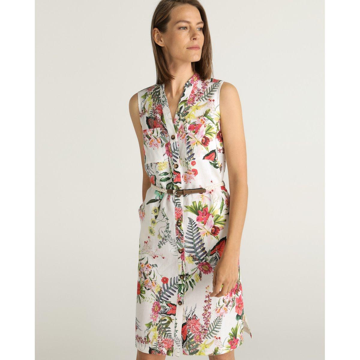 Robe 100% lin à imprimé floral avec ceinture