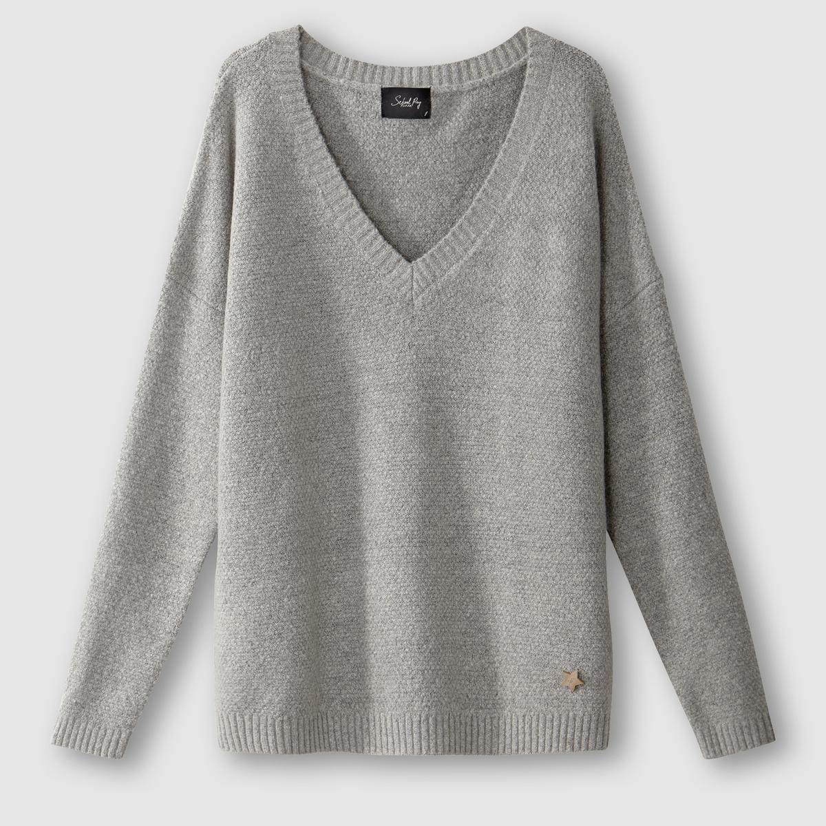 Пуловер с V-образным вырезом PAMELAСостав и описаниеМарка : SCHOOL RAGМодель : PAMELAМатериалы : 60% хлопка, 30% полиэстера, 10% шерсти<br><br>Цвет: светло-серый<br>Размер: M