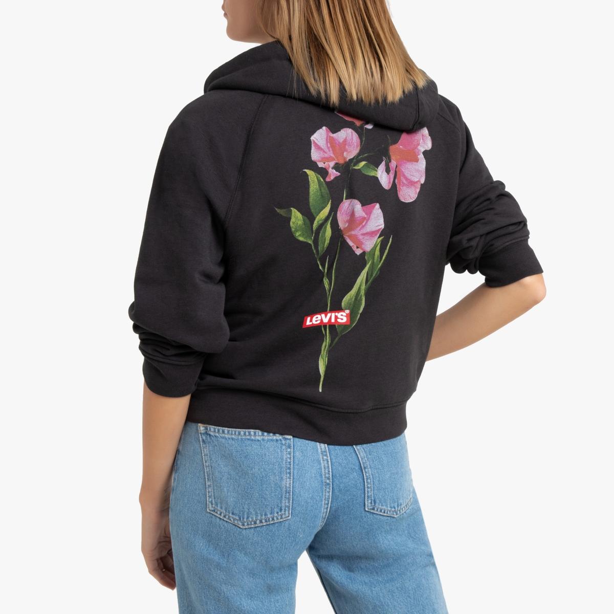 Sudadera con cremallera y capucha, motivo de flores
