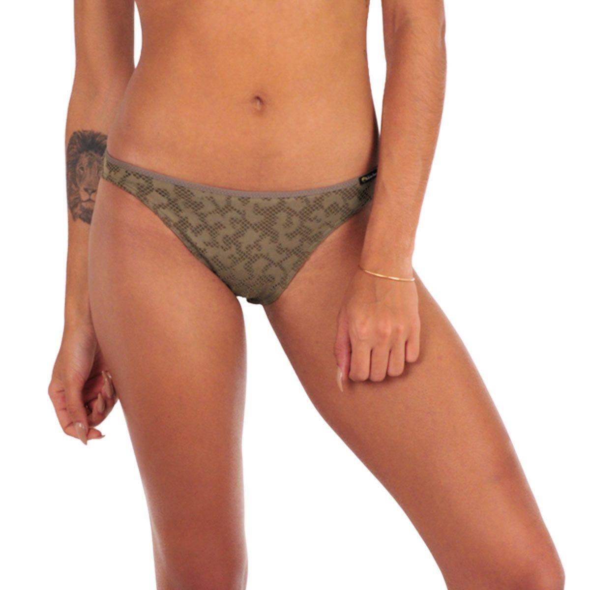 Maillot de bain culotte kaki effet crochet Amaia (Bas)