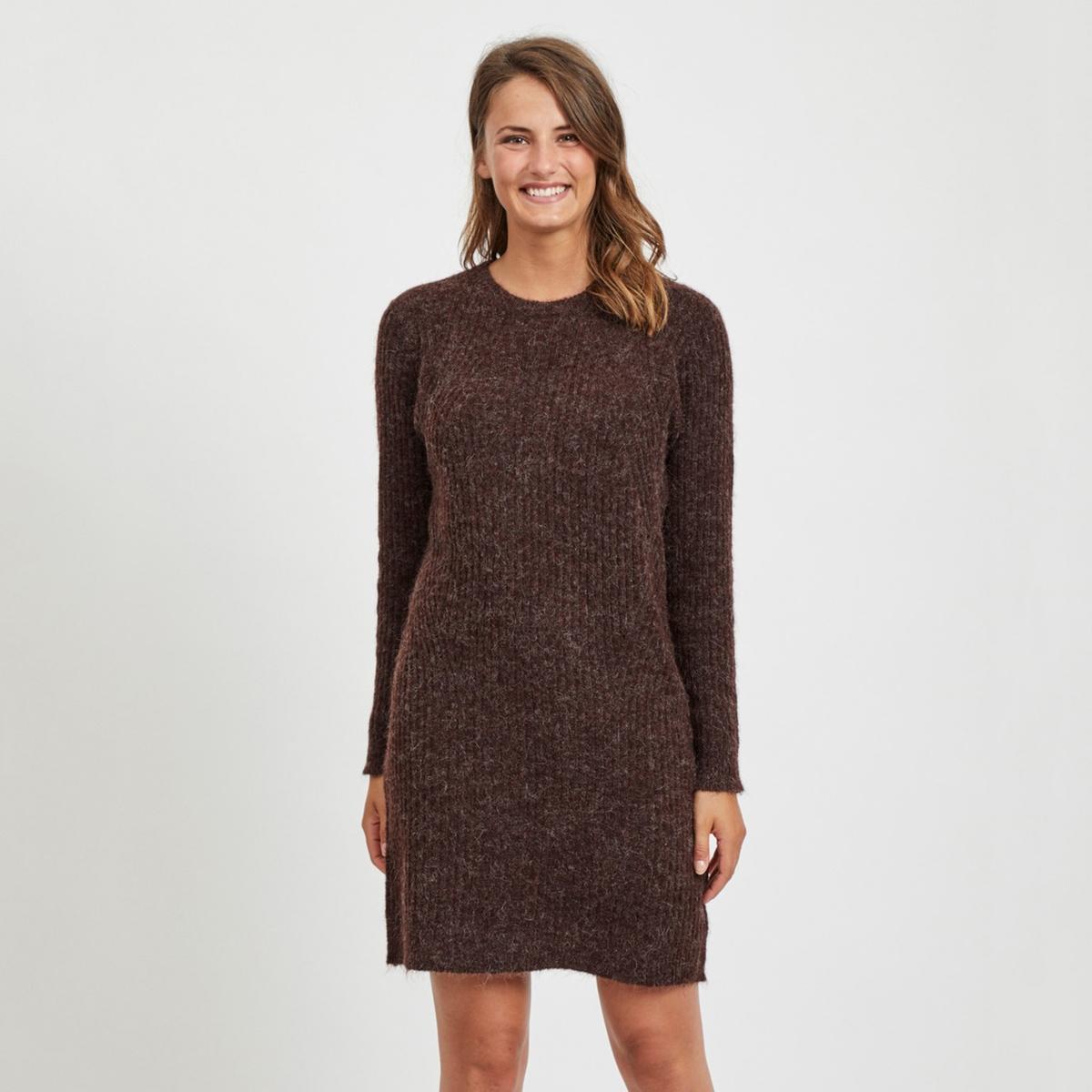 цена Платье-пуловер La Redoute С длинными рукавами короткое M каштановый онлайн в 2017 году
