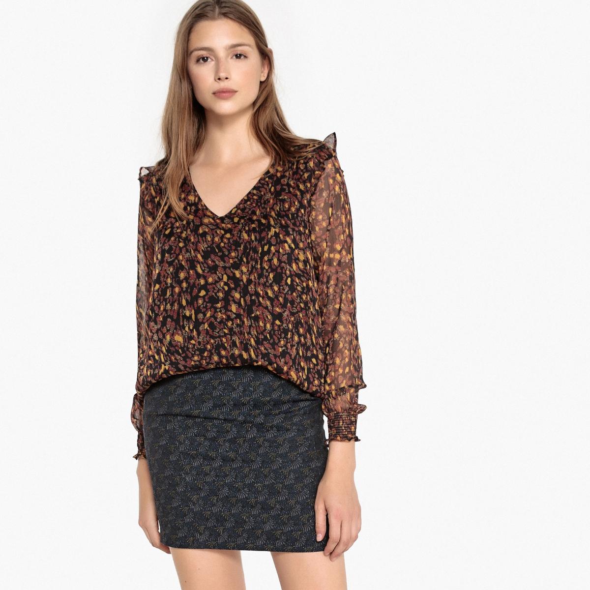 Блузка с рисунком и воланами TACITY блузка с рисунком и накладными воланами