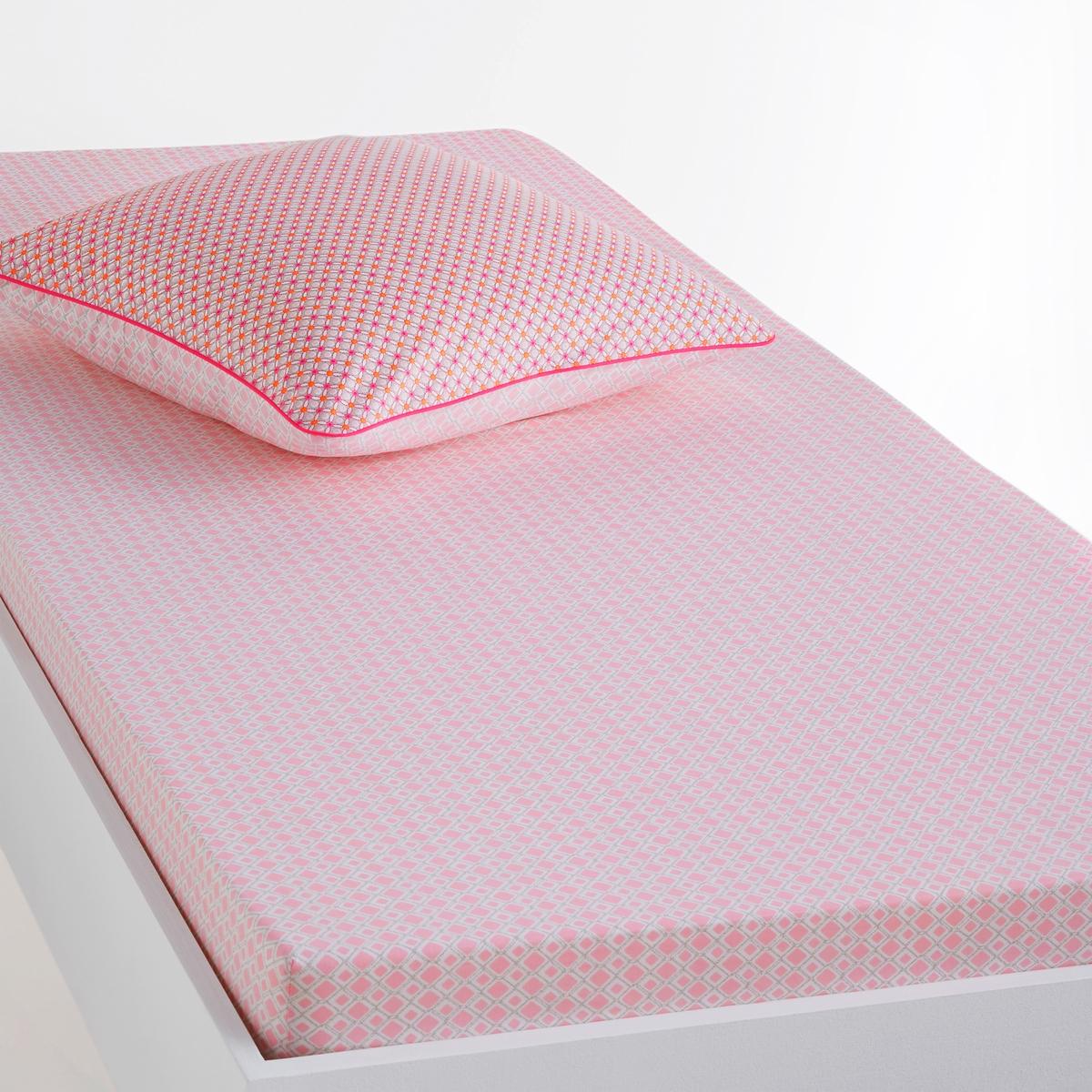 Простыня натяжная с рисунком, LioubiaСостав, описание и уход:  : 100% хлопок, 57 нитей/см2.Чем больше нитей/см2, тем выше качество ткани.Машинная стирка при 60 °С.Мелкий геометрический узор.Размеры : 90 x 190 см : 1-спЗнак Oeko-Tex® гарантирует отсутствие вредных для здоровья веществ в протестированных и сертифицированных изделиях.<br><br>Цвет: наб. рисунок/ розовый<br>Размер: 90 x 190  см