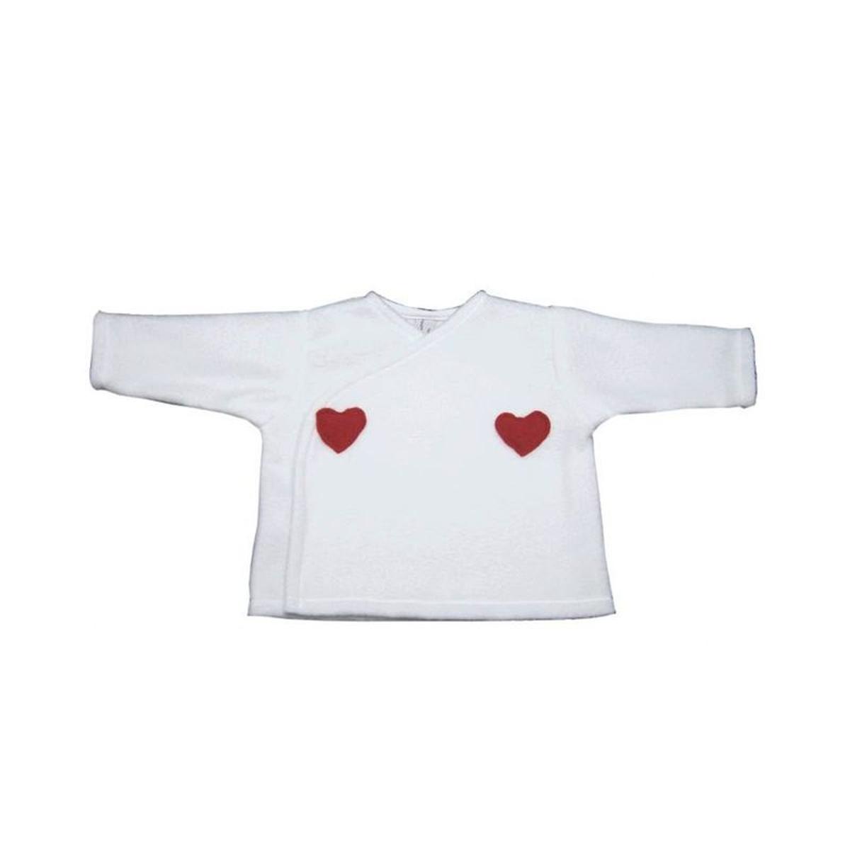 Brassière bébé blanc polaire, coeurs en rouge