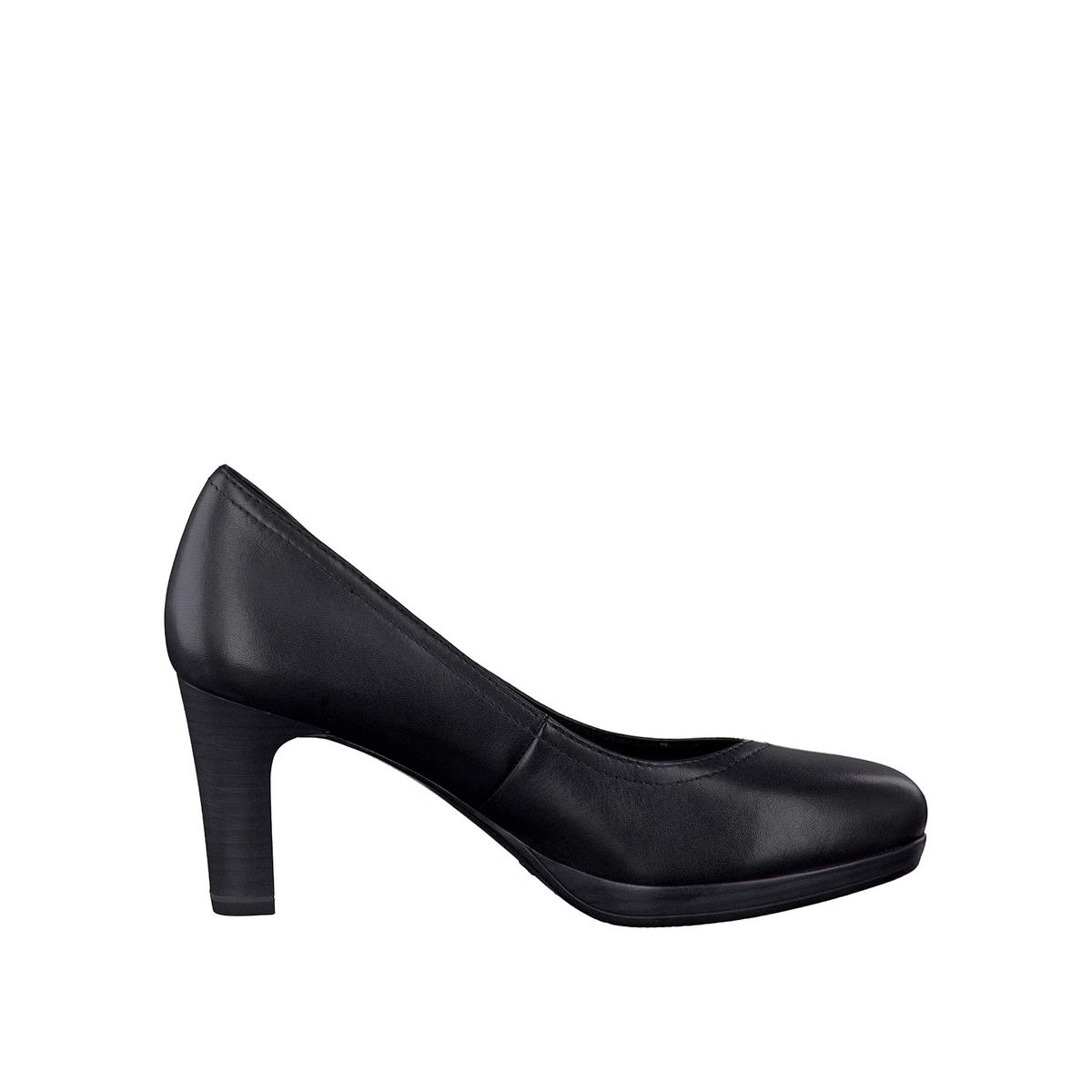Туфли кожаные 22410-28Верх: кожа.   Подкладка: текстиль и синтетика.Стелька: синтетика.Подошва: синтетика.Высота каблука: 7 см.Форма каблука: тонкий каблук.    Мысок: закругленный.Застежка: без застежки.<br><br>Цвет: черный<br>Размер: 40