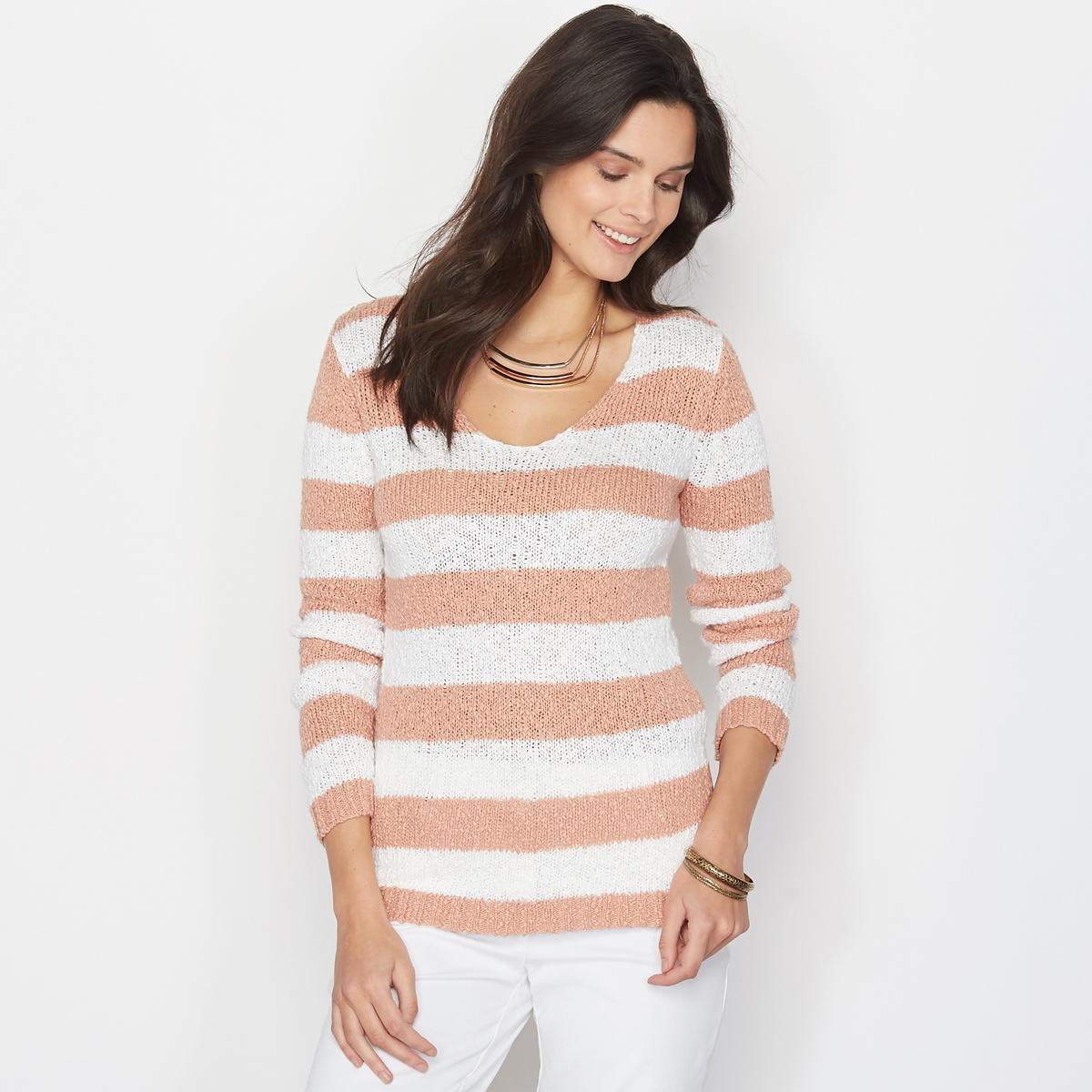 Пуловер в полоску из трикотажа