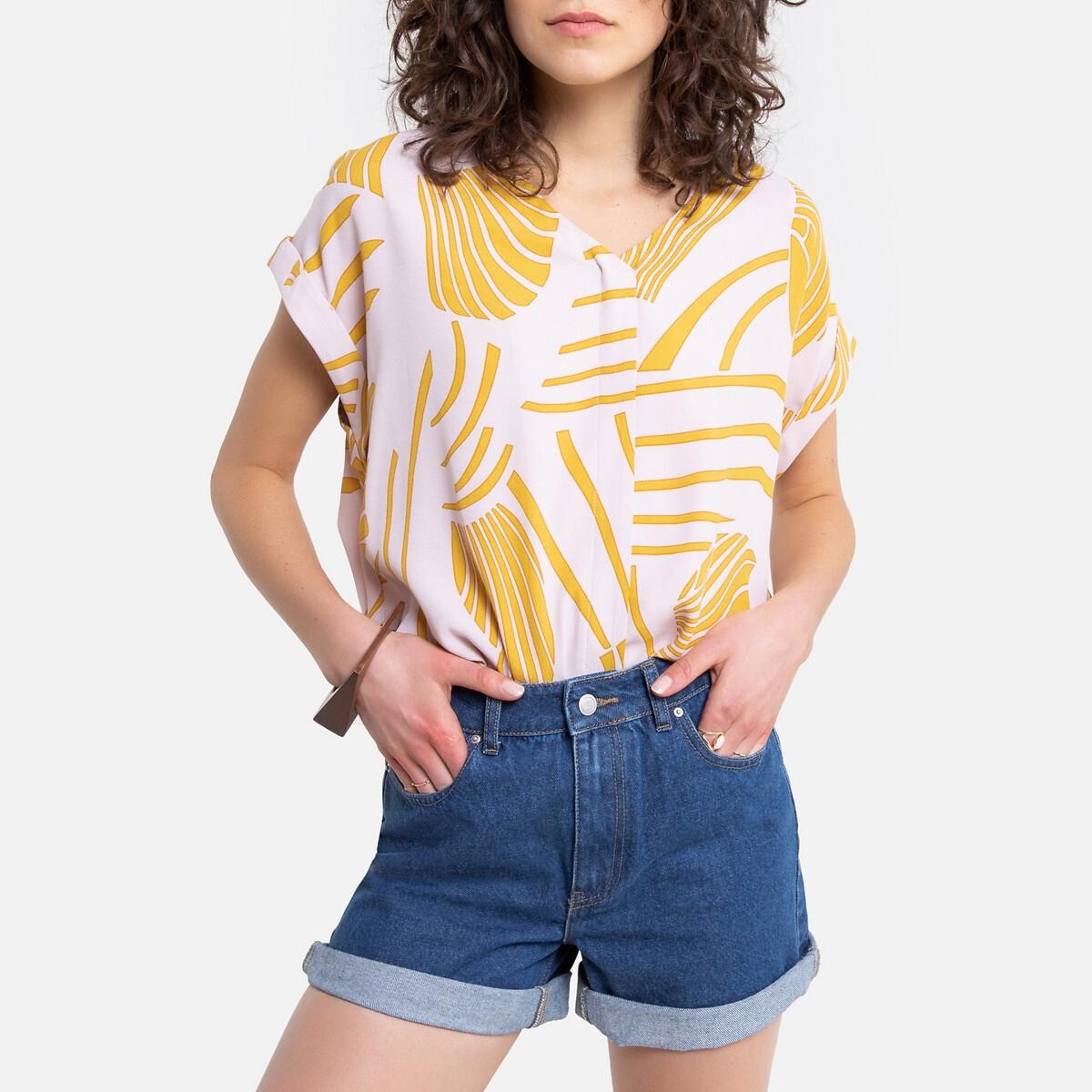 цена на Блузка La Redoute С принтом с короткими рукавами с V-образным вырезом 0(XS) желтый