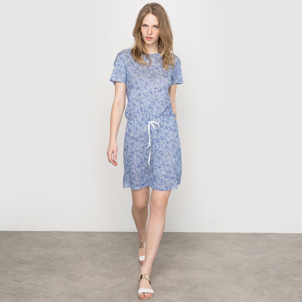 Платье льняное с рисунком, с короткими рукавами