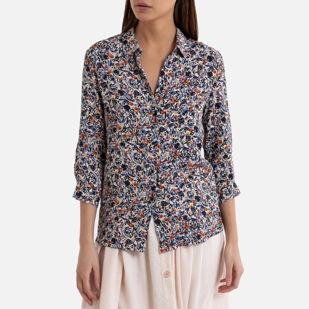 Блузка La Redoute С рисунком и рукавами MINA S синий mina