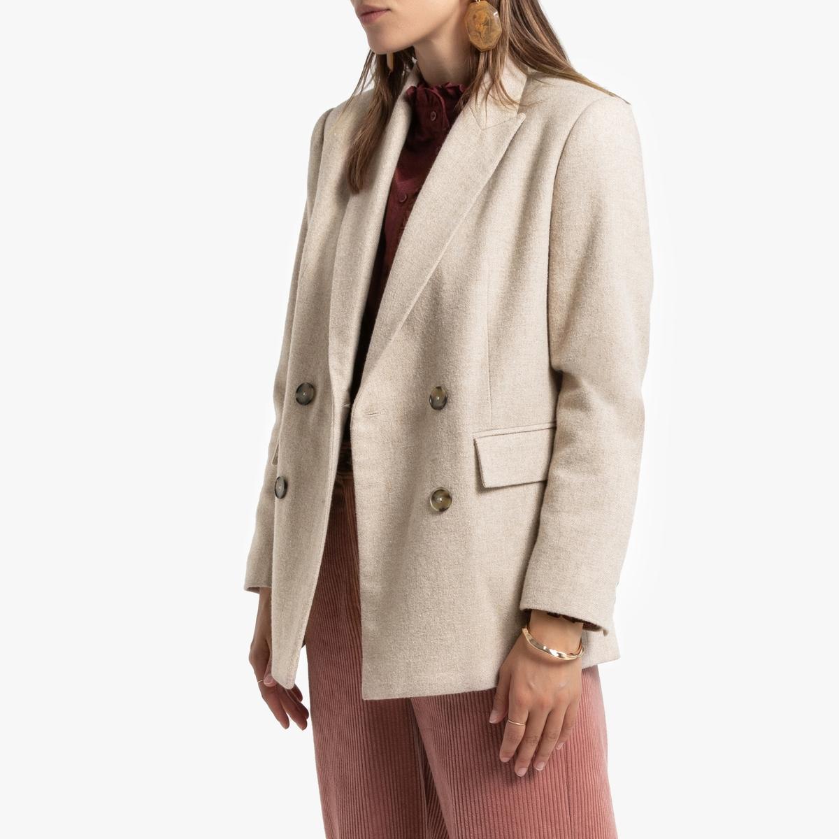 Blazer con corte recto, de lana mezclada