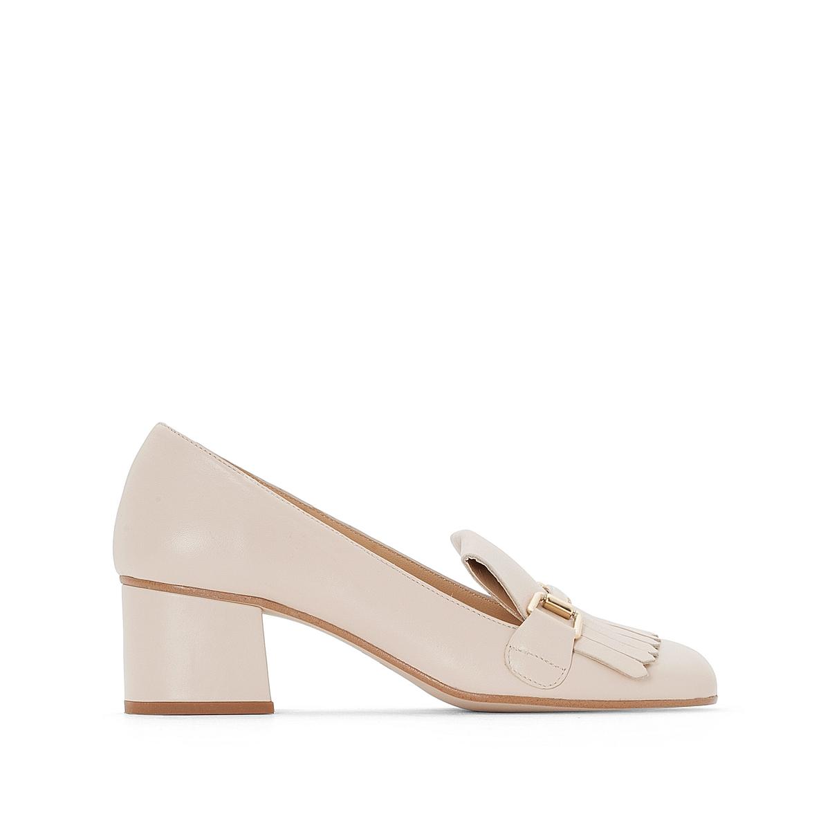 Туфли кожаные на широком каблуке, Valvi цены онлайн