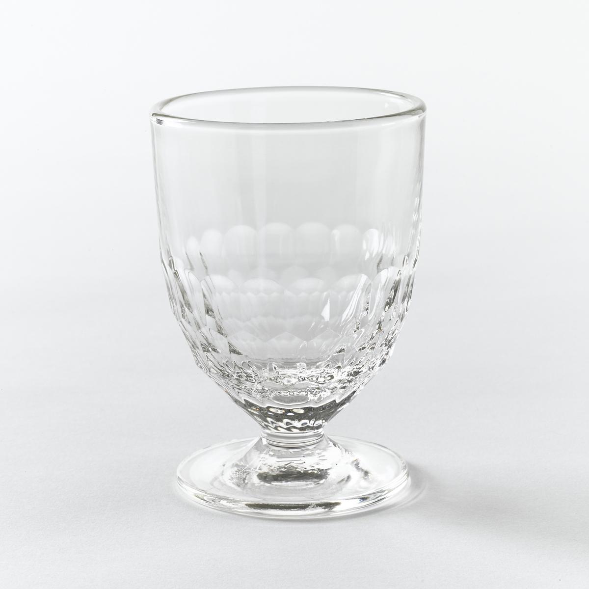 6 стаканов для вина с узором в виде сот, CohaniХарактеристики 6 стаканов для вина с узором в виде сот Cohani :- Прессованное стекло, очень прочное- Рельефный декор в виде сот.- Объем 217 см3.- Диаметр 7,8 x Высота 11 см.- Можно использовать в посудомоечной машине.- Произведено во Франции.Откройте для себя стаканы для воды того же набора на сайте laredoute.ru<br><br>Цвет: стеклянный прозрачный