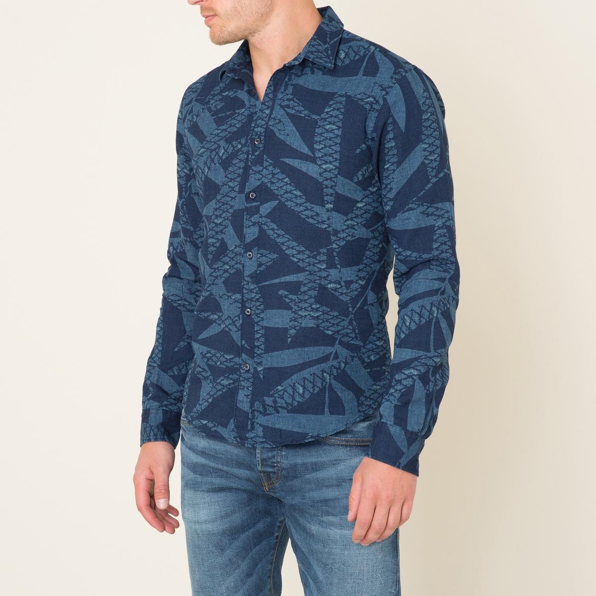 Рубашка из льна и хлопкаСостав и описание Материал : 55% льна, 45% хлопкаМарка : SCOTCH AND SODA<br><br>Цвет: темно-синий