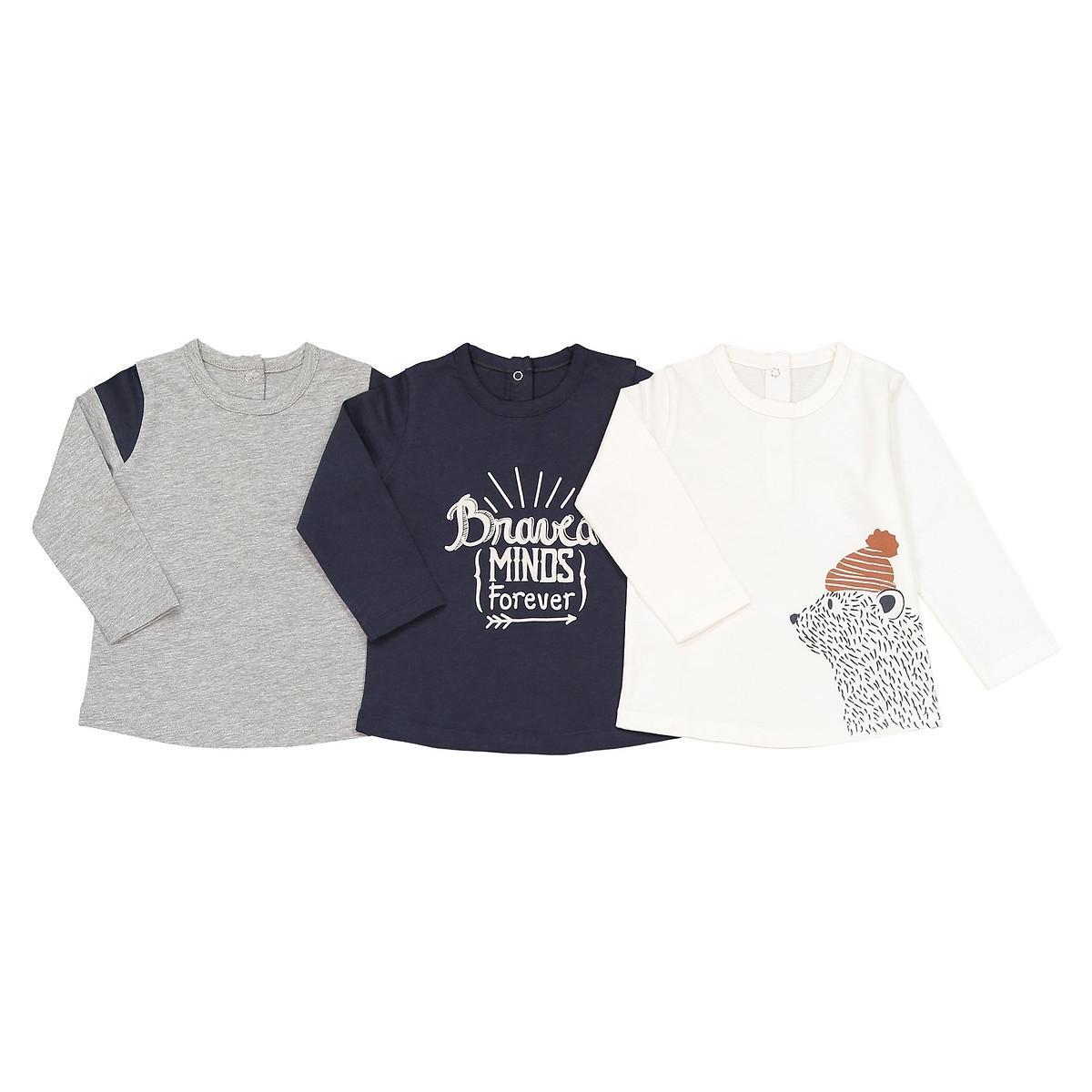 Комплект из 3 футболок с LaRedoute Длинными рукавами 1 мес - 3 года 3 мес. - 60 см синий пижама laredoute с носочками из велюра 0 мес 3 года 3 мес 60 см серый