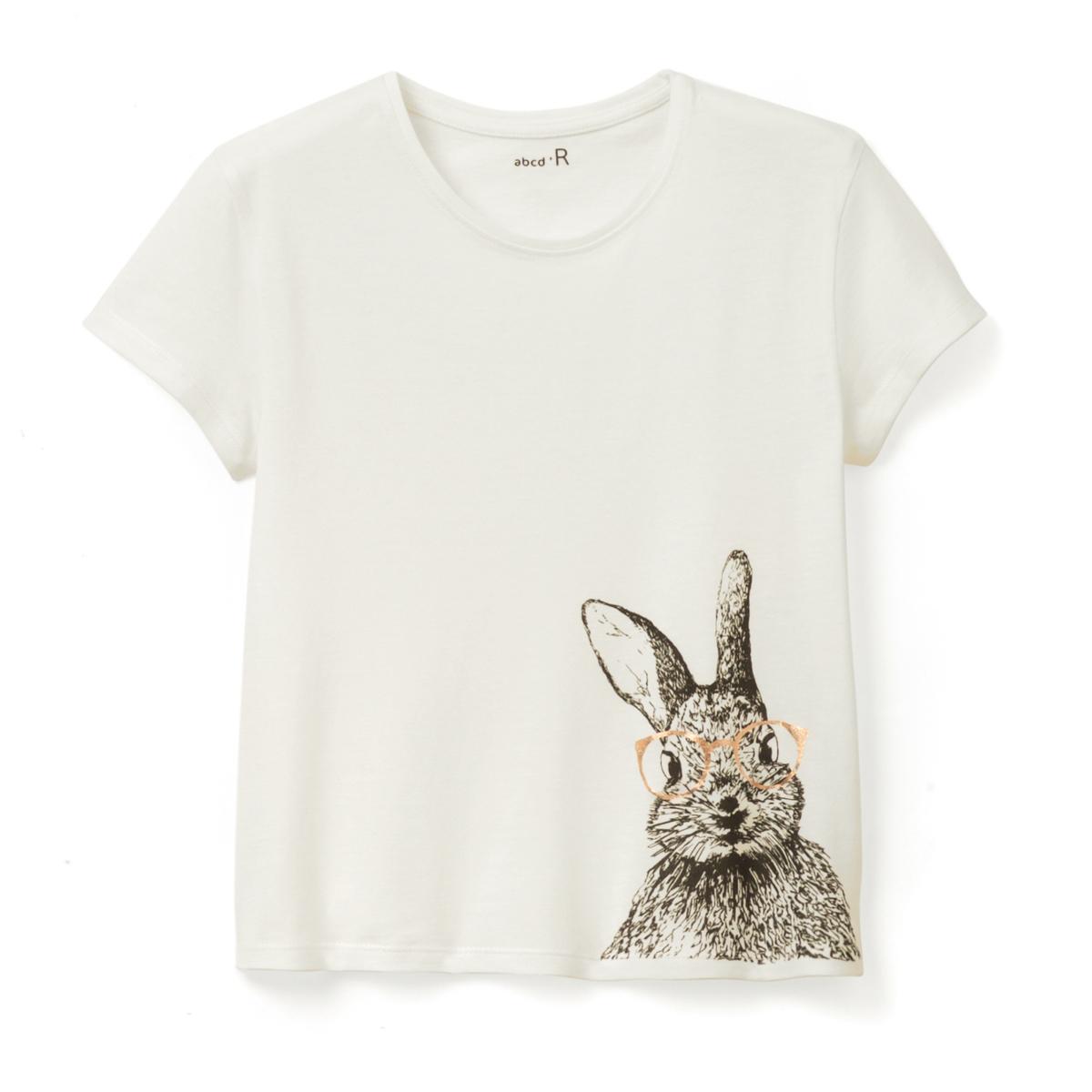 Футболка с рисунком кролик, 3-12 лет футболка с рисунком ананас 100% хлопка для от 1 месяца до 3 лет