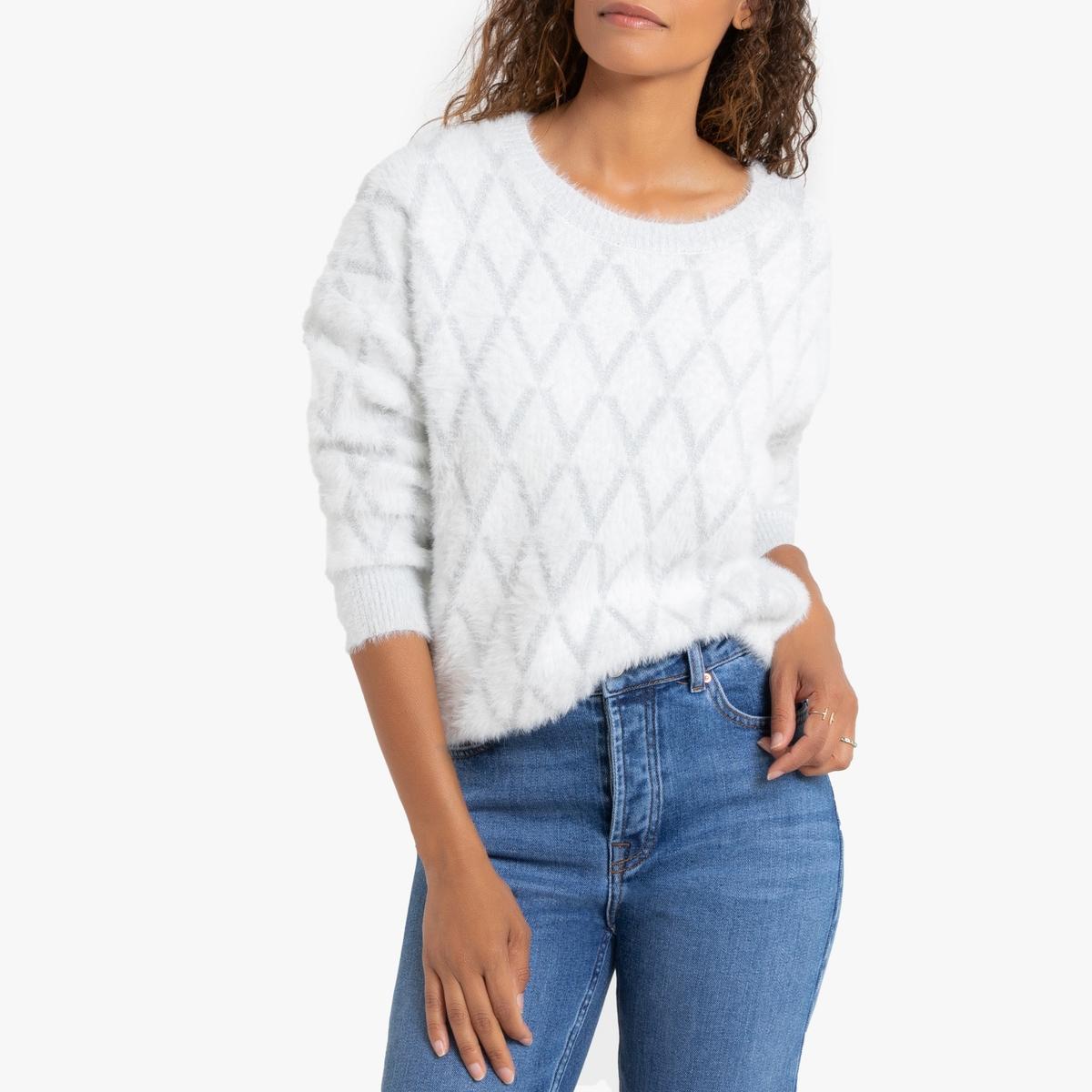 Пуловер La Redoute Из ворсистого трикотажа с узором ромбы XS/S белый кардиган la redoute из трикотажа с воланами s белый