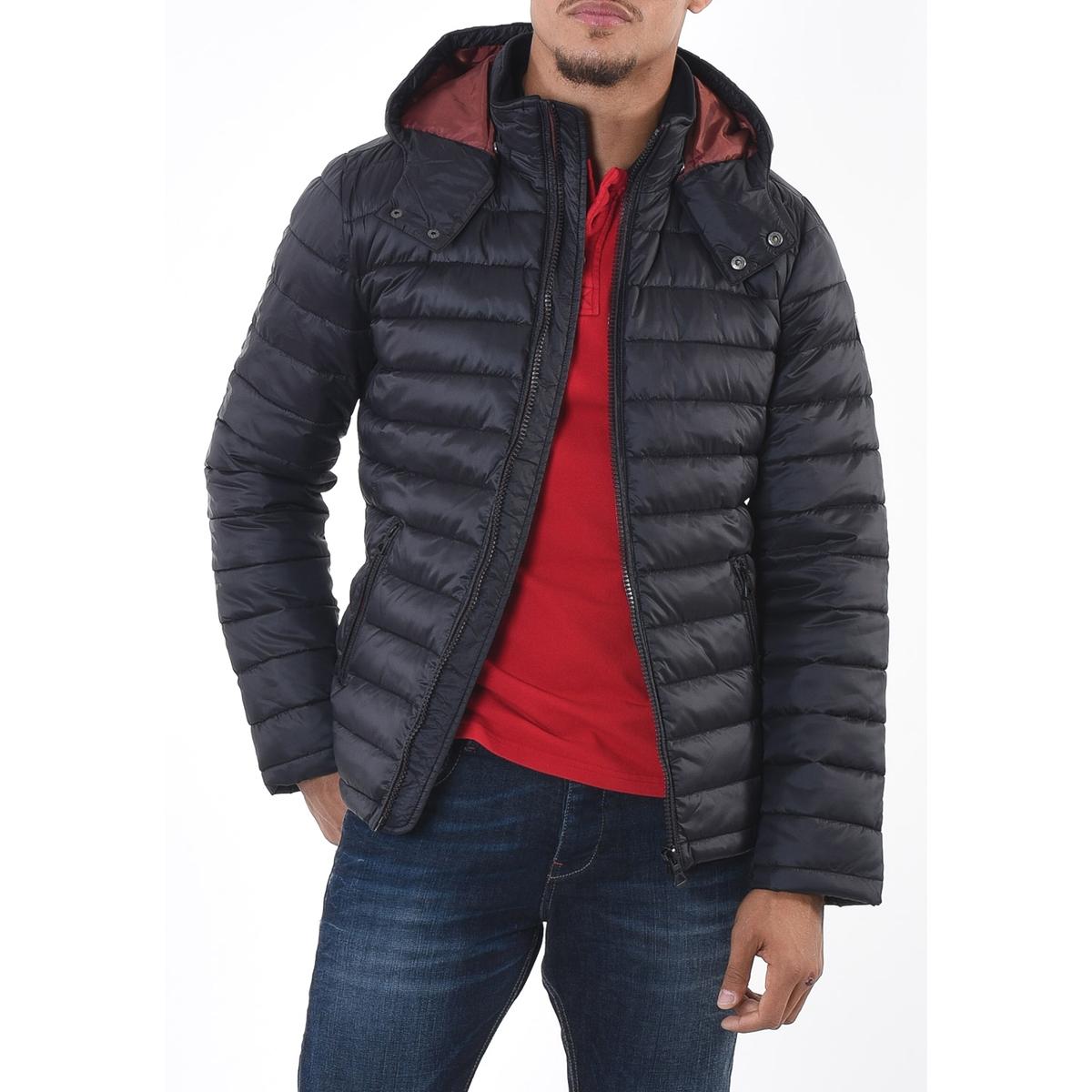Куртка короткая демисезонная с капюшономОписание:Детали  •  Длина  : укороченная  •  Воротник-стойка •  Застежка на молнию  •  С капюшоном Состав и уход  •  100% полиамид  •  Следуйте советам по уходу, указанным на этикетке<br><br>Цвет: небесно-голубой,черный<br>Размер: M.L.XL.M