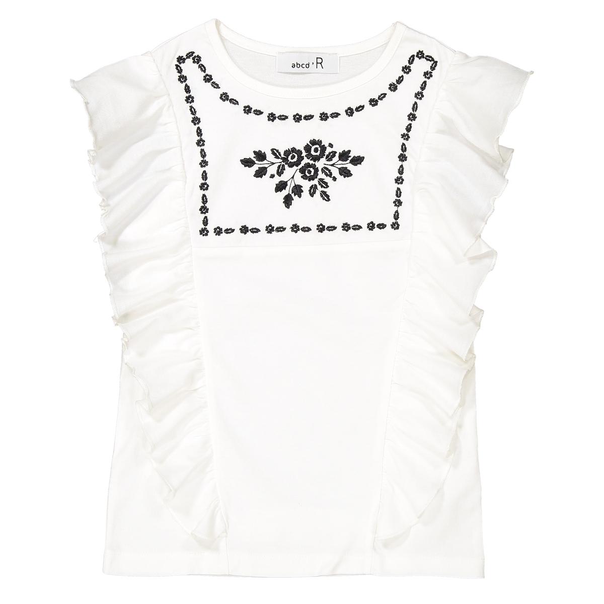 T-shirt bordada com folhos, 3-12 anos