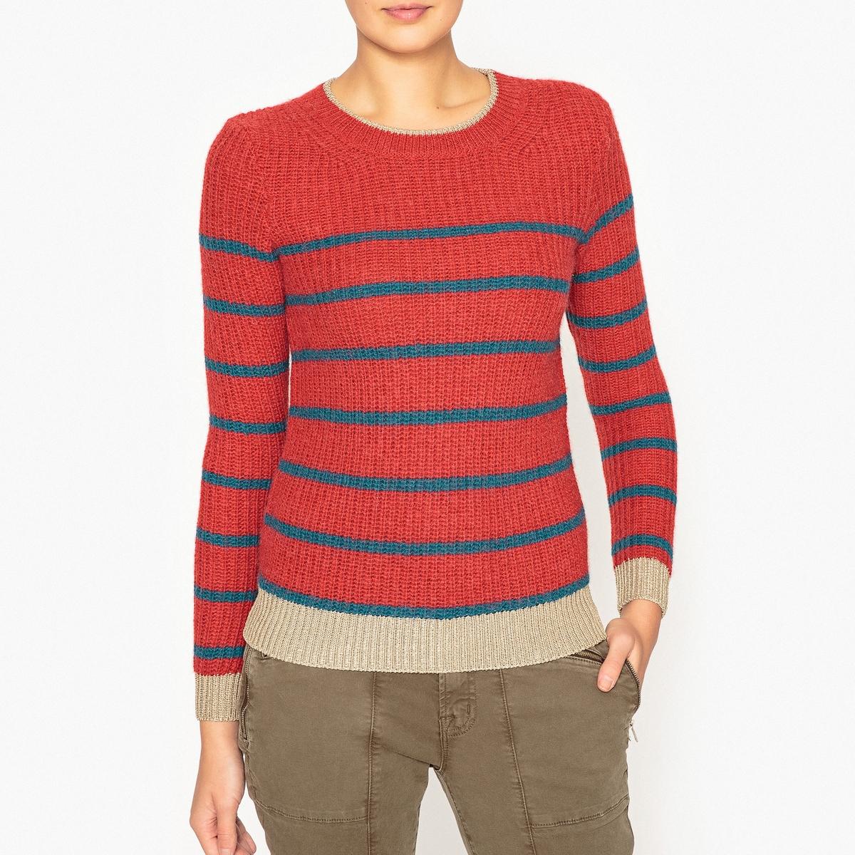 Пуловер в полоску из трикотажа в рубчик