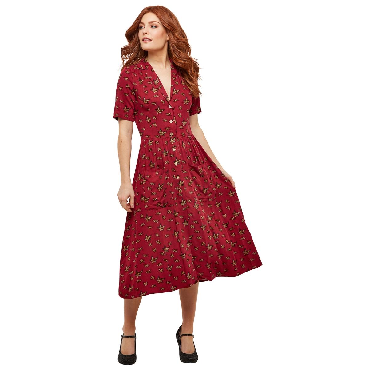 Платье La Redoute Средней длины расклешенное с застежкой на пуговицы и рубашечным воротником 36 (FR) - 42 (RUS) красный цены