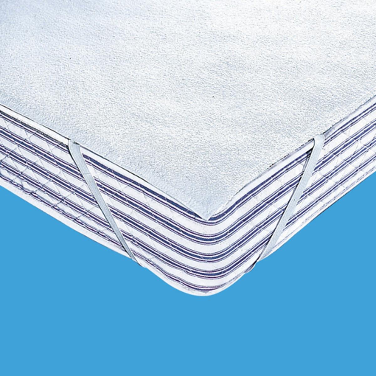 Чехол защитный для матраса 400г/м? из махровой ткани с непромокаемым покрытием из ПВХЗащитный чехол в виде простыни из нежной и прочной махровой ткани с завитым ворсом (400г/м?) с непромокаемым покрытием из ПВХ без содержания фталатов с пропиткой Sanitized против бактерий и плесени .Эластичный чехол легко крепится к матрасу (высота 10-18 см).4 угла на резинках.Доступен размер для детской кроватки. Стирать при температуре до 95°.Качество VALEUR S?RE.<br><br>Цвет: белый